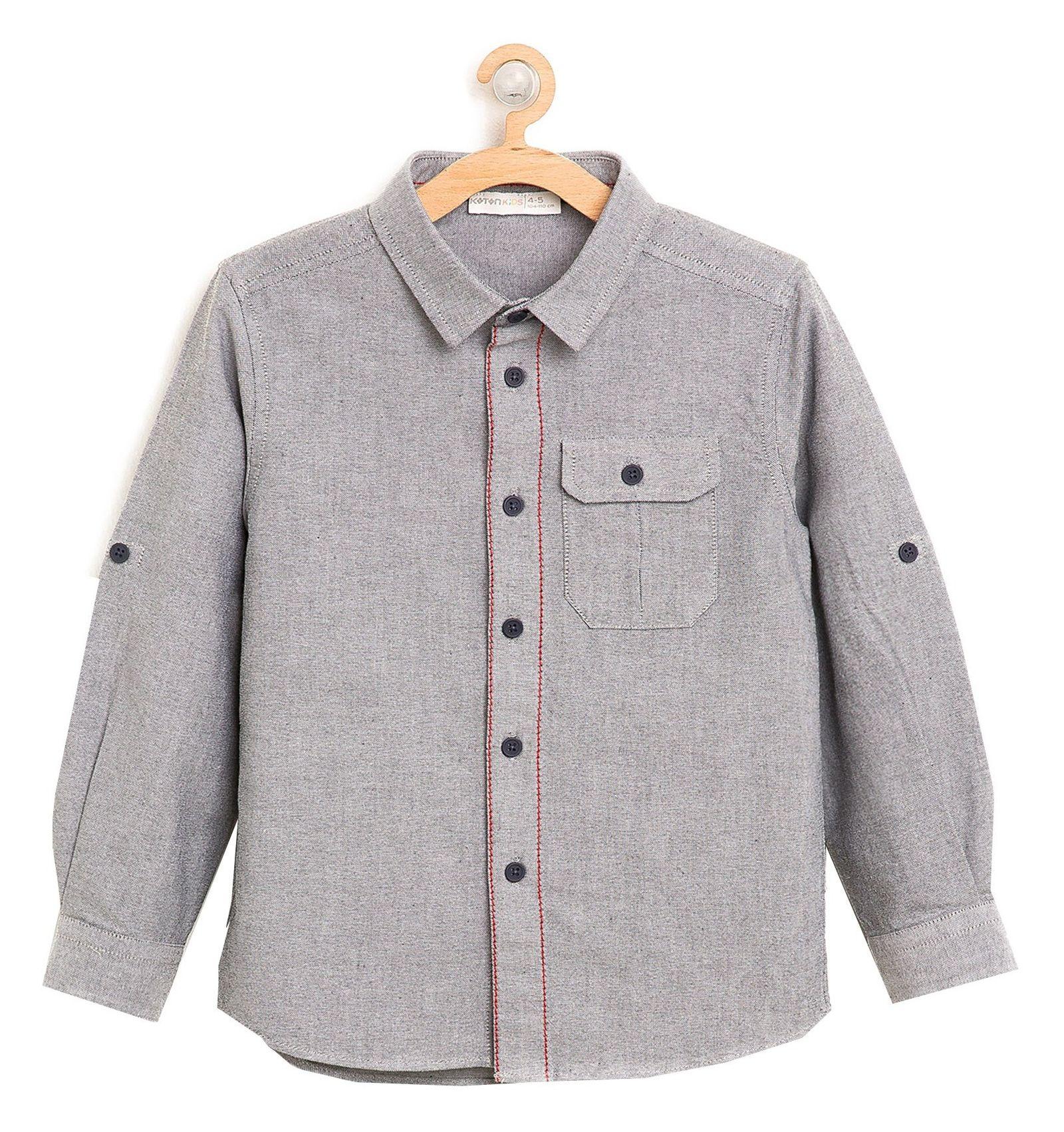 پیراهن نخی آستین بلند پسرانه - کوتون - طوسي - 1