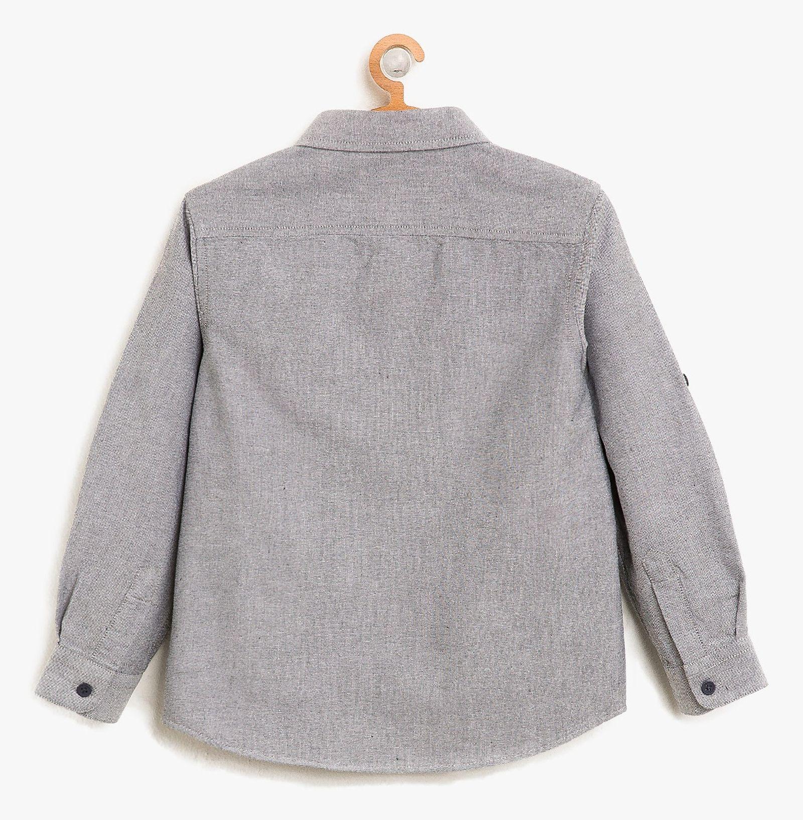 پیراهن نخی آستین بلند پسرانه - کوتون - طوسي - 2
