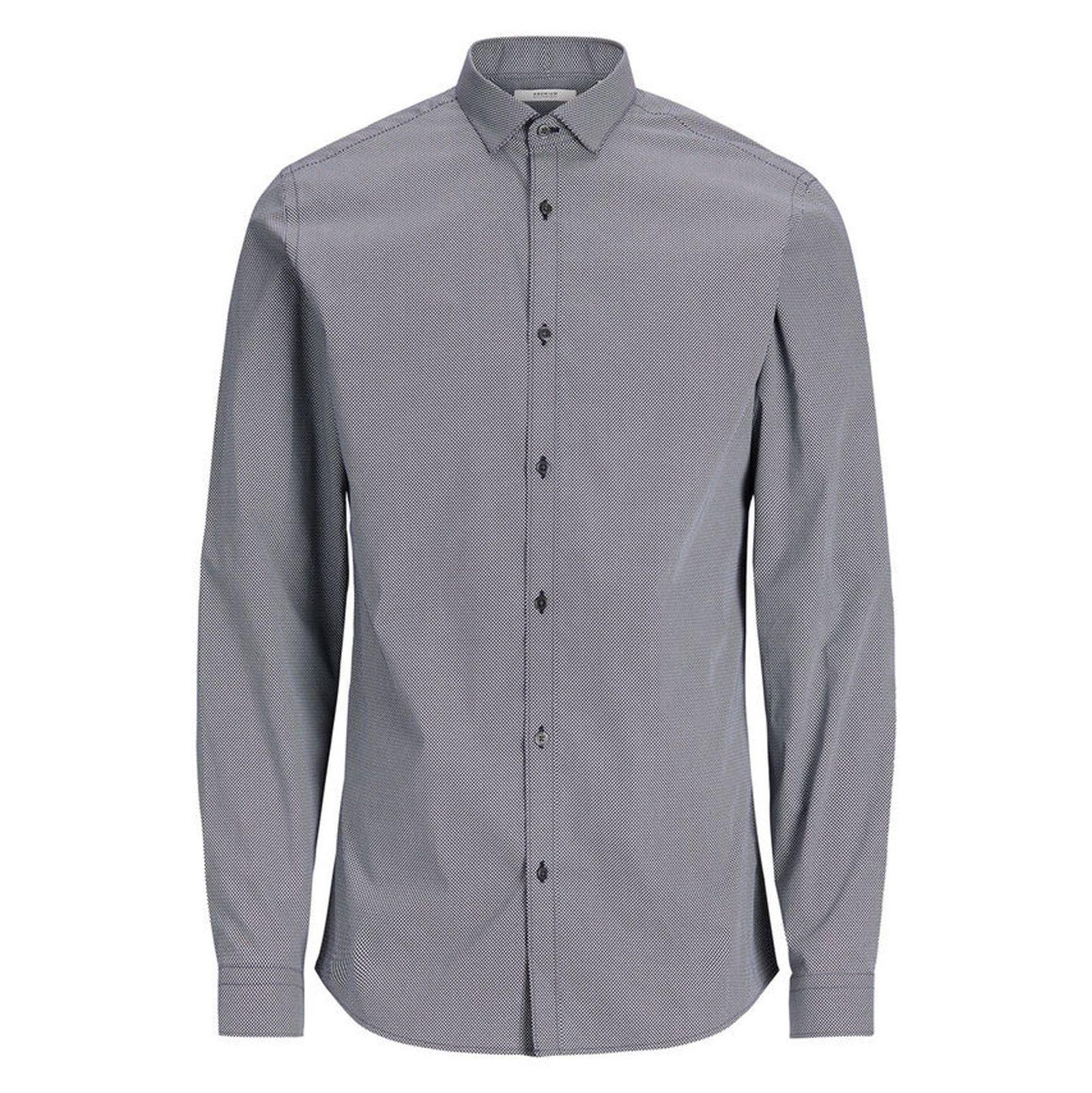 پیراهن نخی آستین بلند مردانه - جک اند جونز - سرمه اي - 1