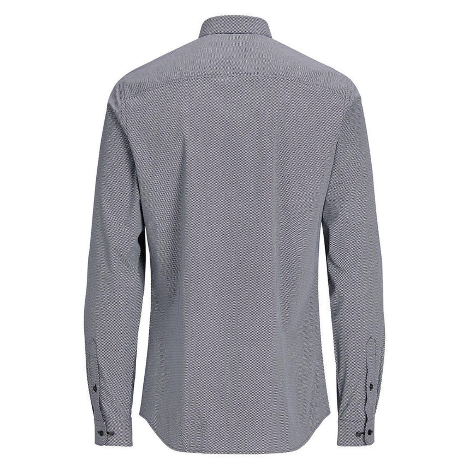 پیراهن نخی آستین بلند مردانه - جک اند جونز - سرمه اي - 2