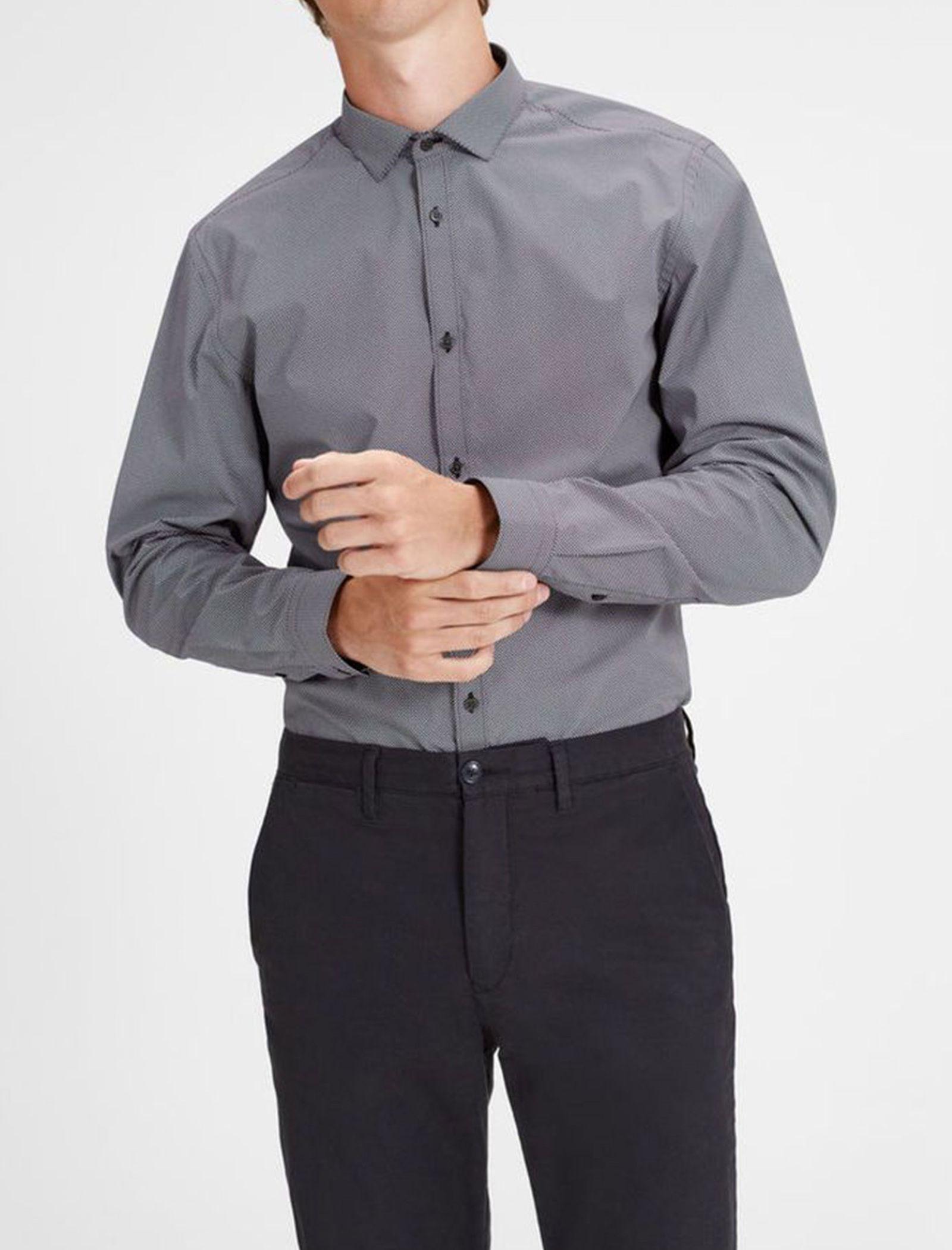 پیراهن نخی آستین بلند مردانه - جک اند جونز - سرمه اي - 3