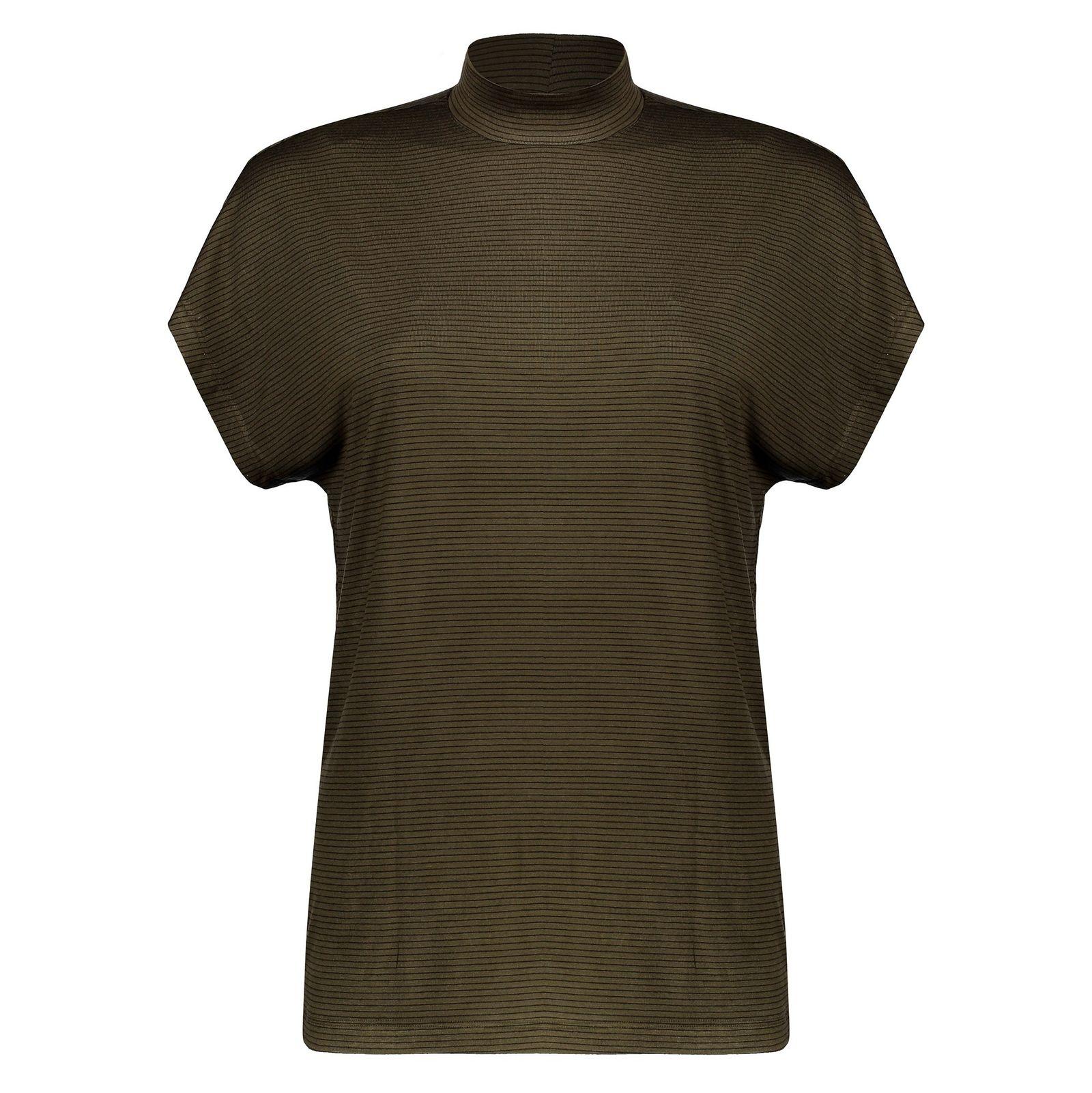 تی شرت ویسکوز یقه ایستاده زنانه - پی سز - زيتوني - 1