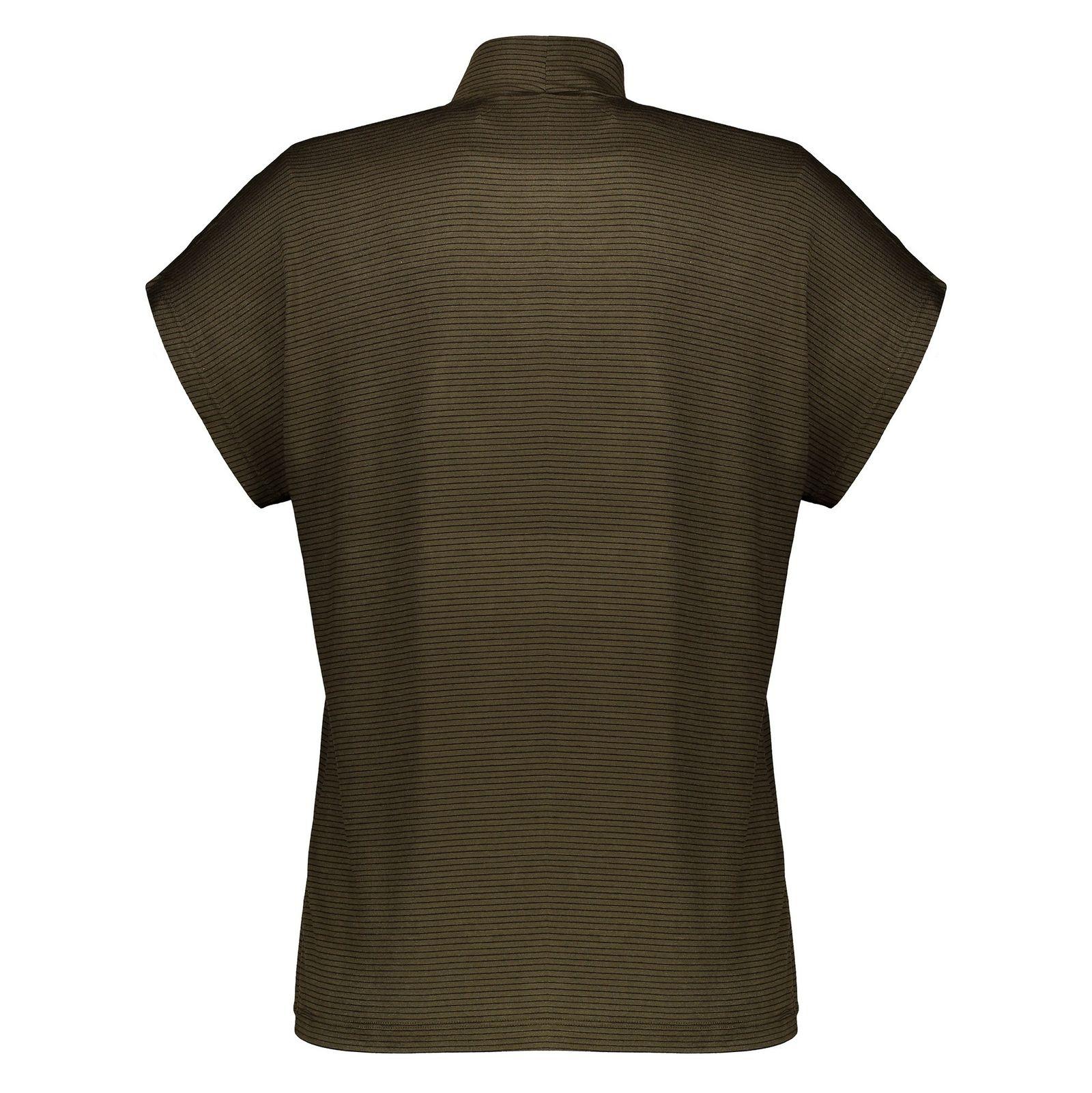 تی شرت ویسکوز یقه ایستاده زنانه - پی سز - زيتوني - 2