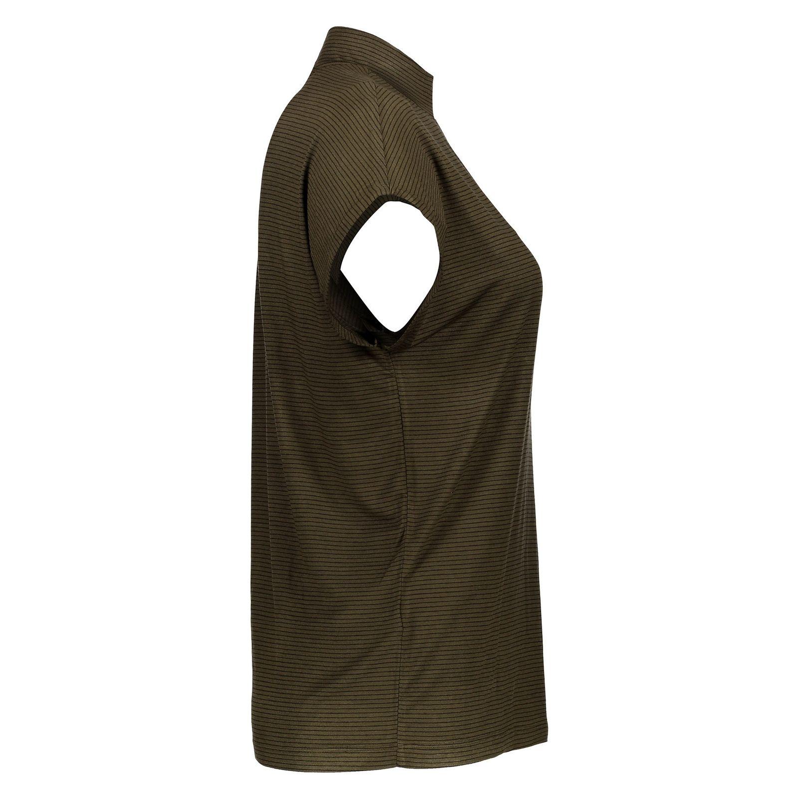 تی شرت ویسکوز یقه ایستاده زنانه - پی سز - زيتوني - 4