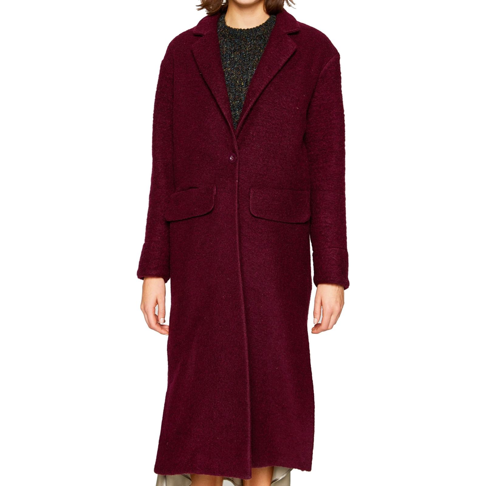 پالتو پشمی بلند زنانه - کوتون - زرشکي - 1