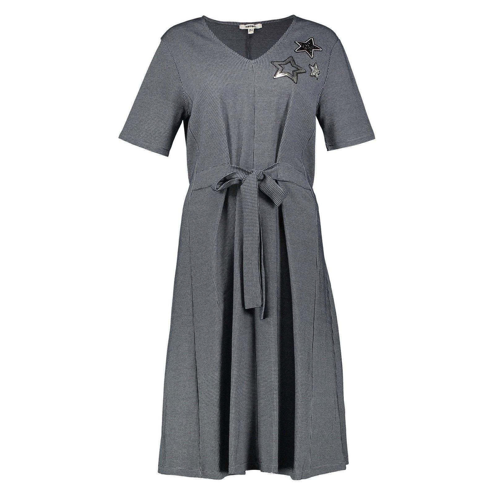 پیراهن نخی میدی زنانه - کوتون - آبي - 1