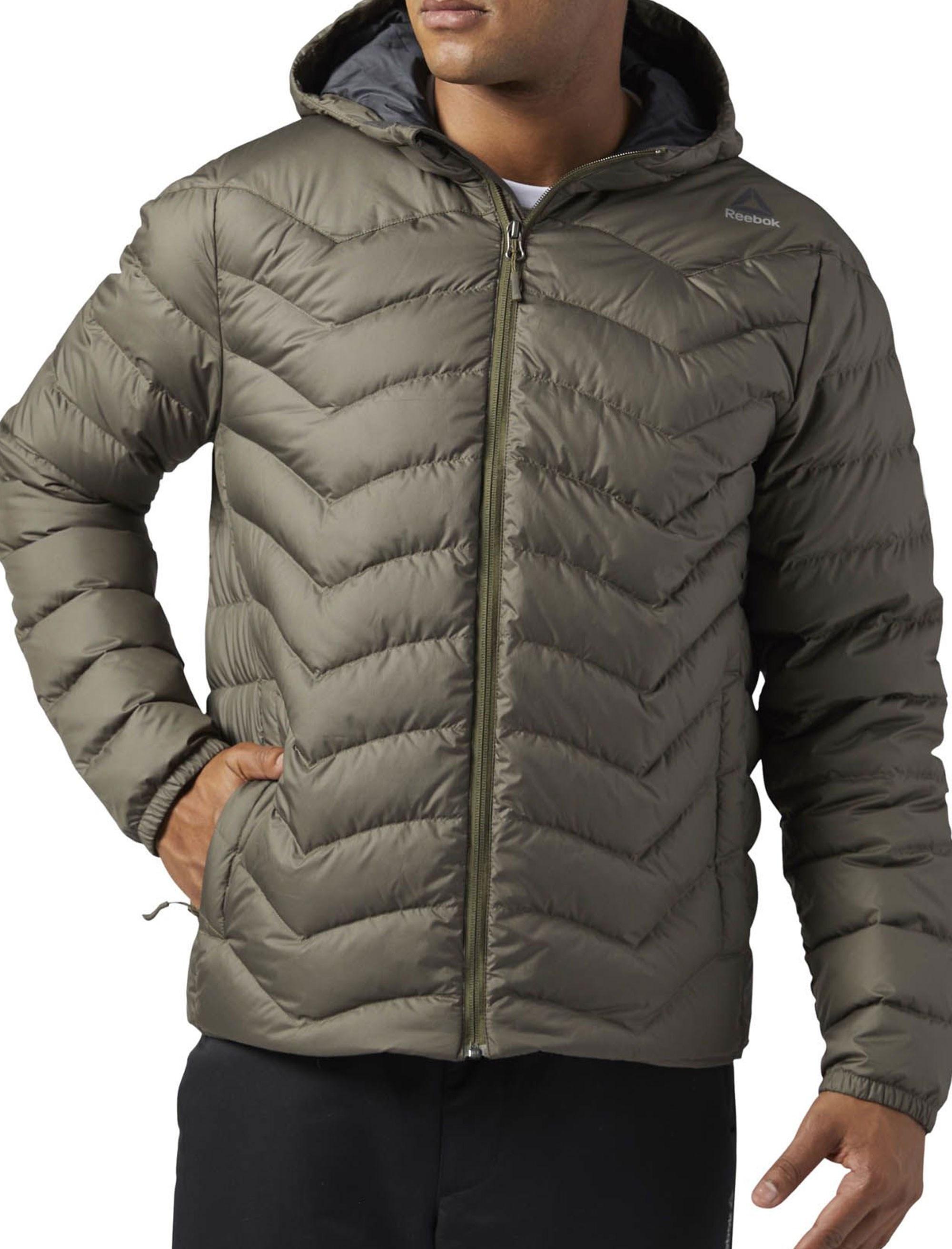 کاپشن کوتاه مردانه Down Jacket - ریباک - زيتوني قهوه اي - 3