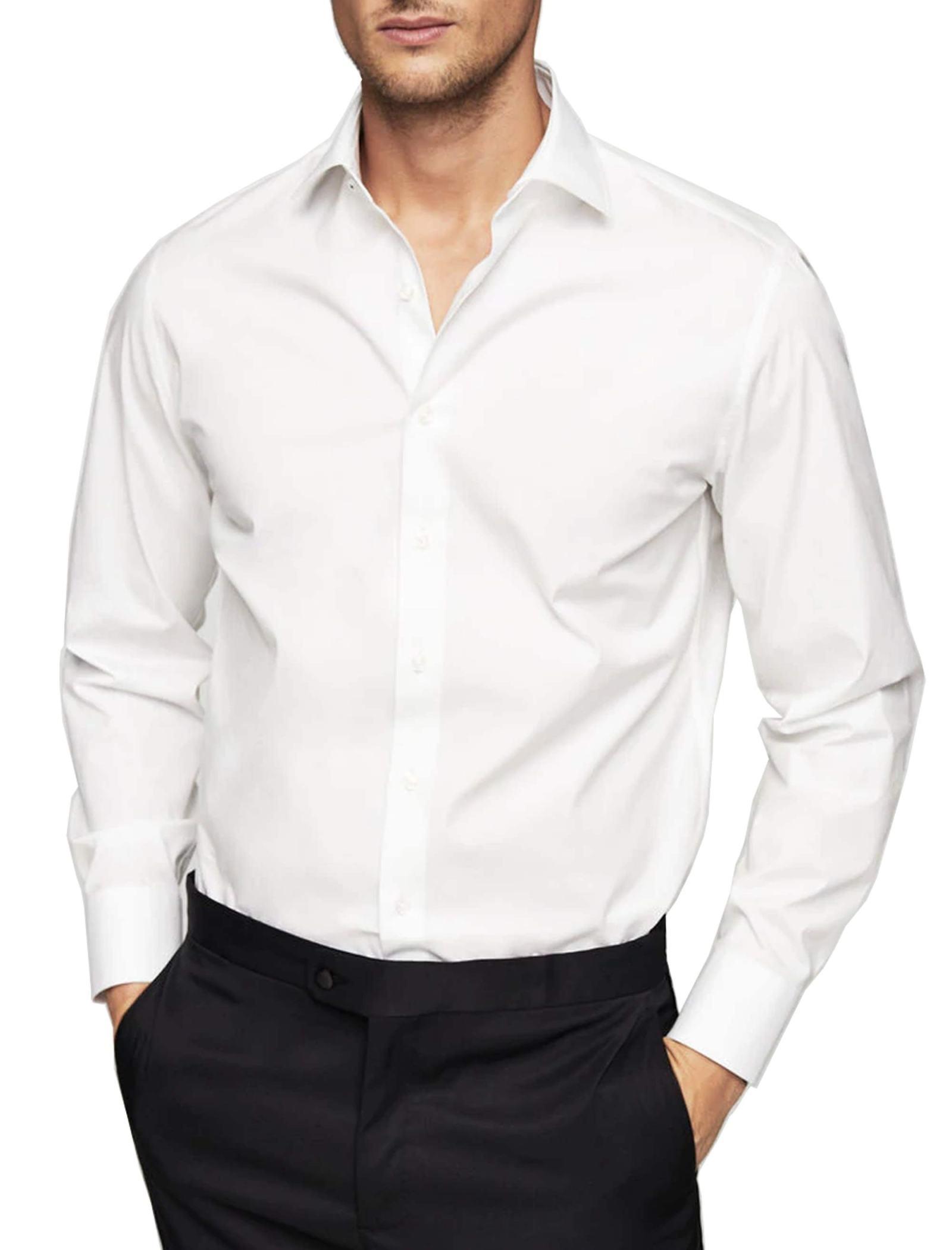 پیراهن نخی آستین بلند مردانه - مانگو - سفيد - 3