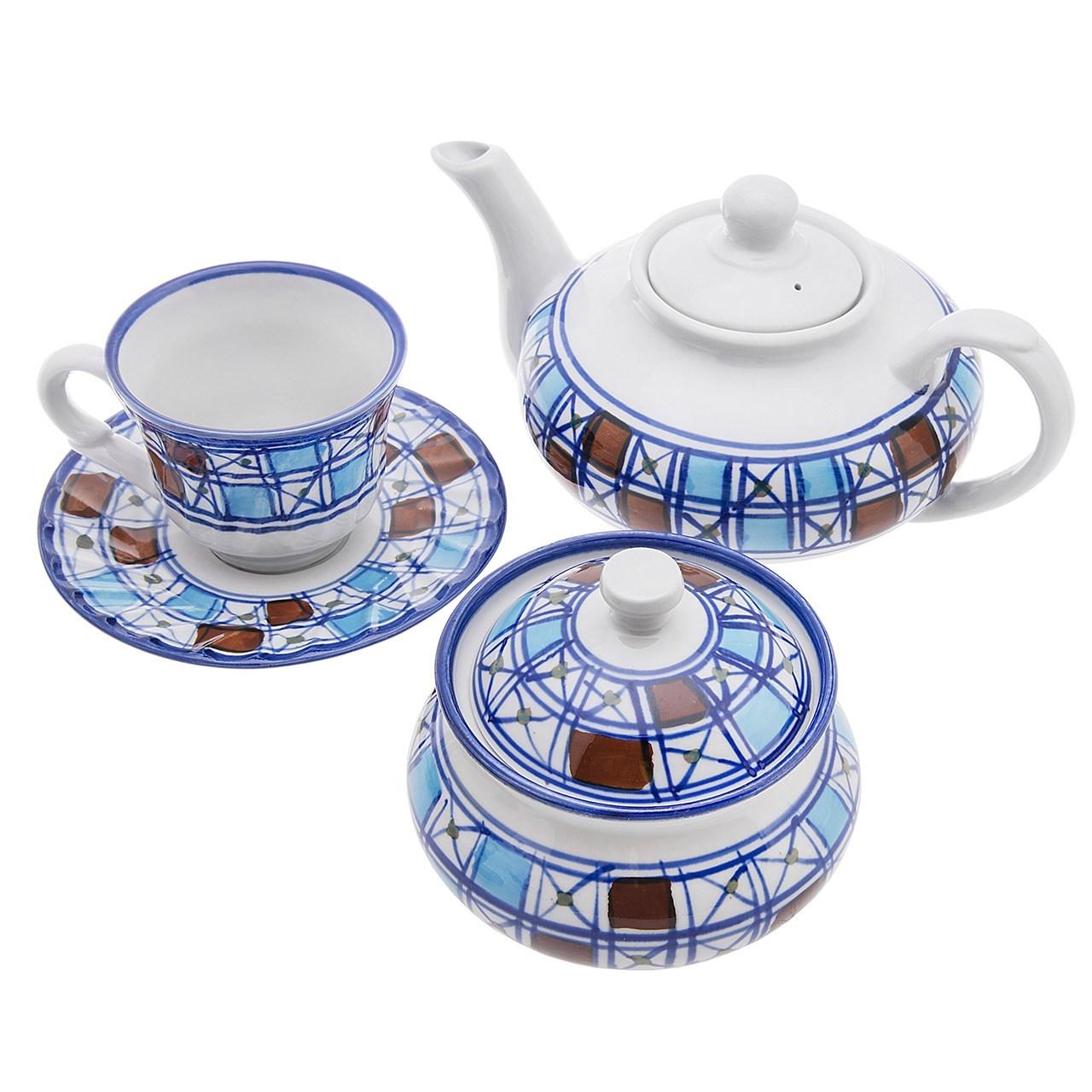 چای خوری چینی کارگاه میبد مروارید طرح شطرنجی سرویس 16 پارچه