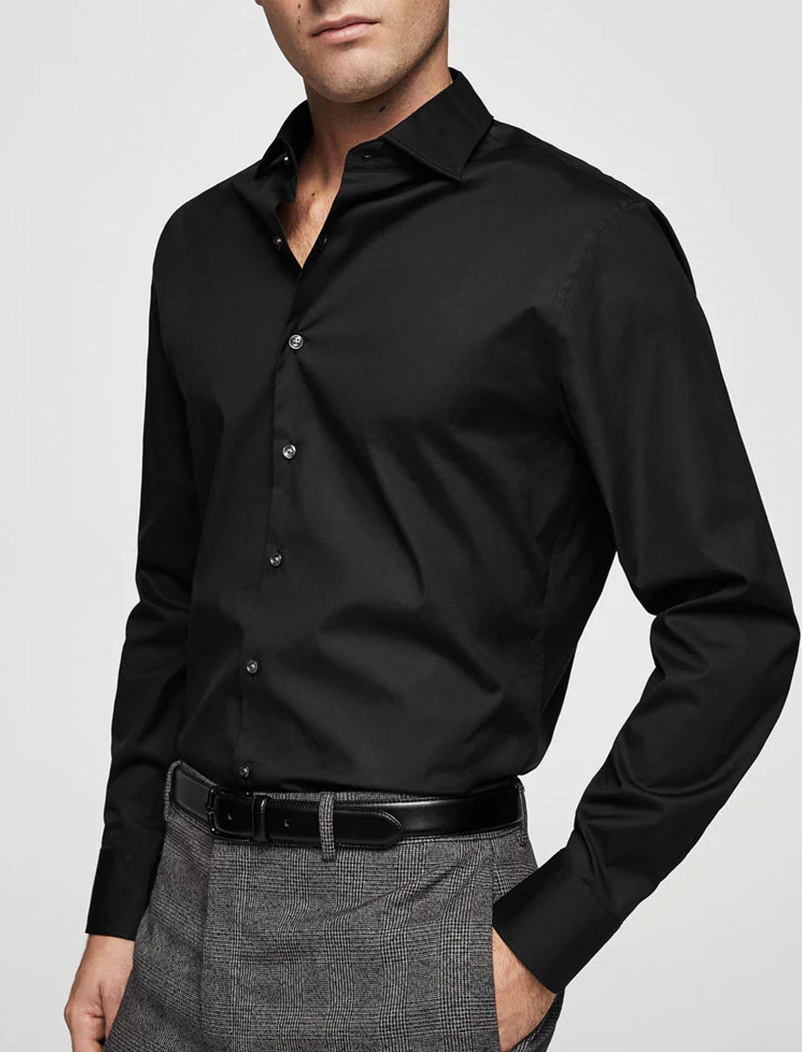 پیراهن نخی آستین بلند مردانه - مانگو - مشکي - 2