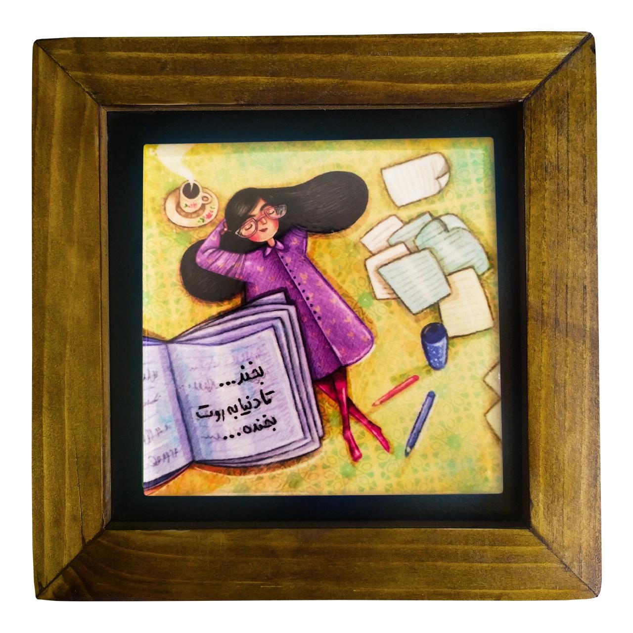 خرید                      تابلو کاشی کاری طرح دخترک شاد کد 112