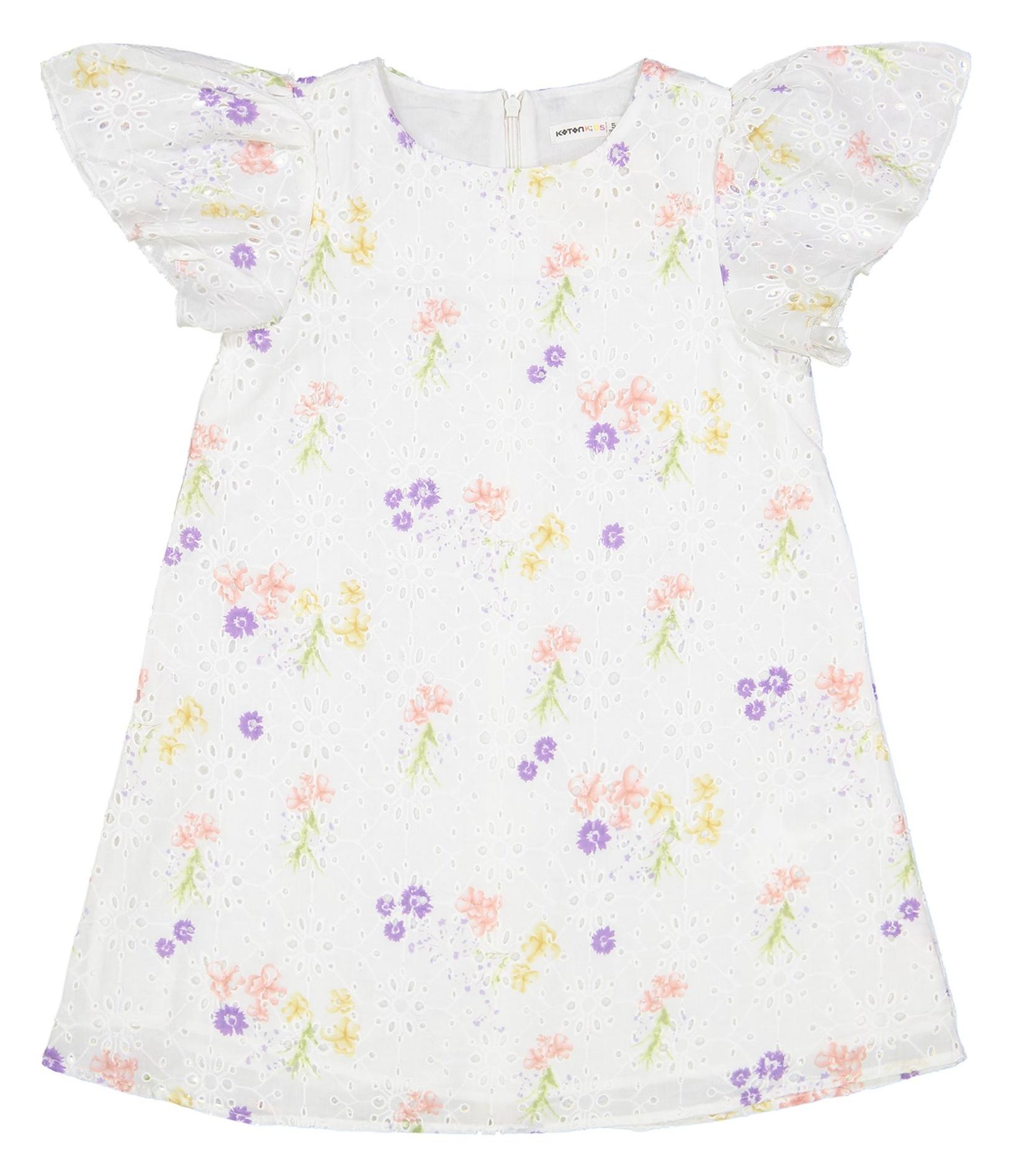 پیراهن نخی روزمره دخترانه - کوتون - سفيد - 1