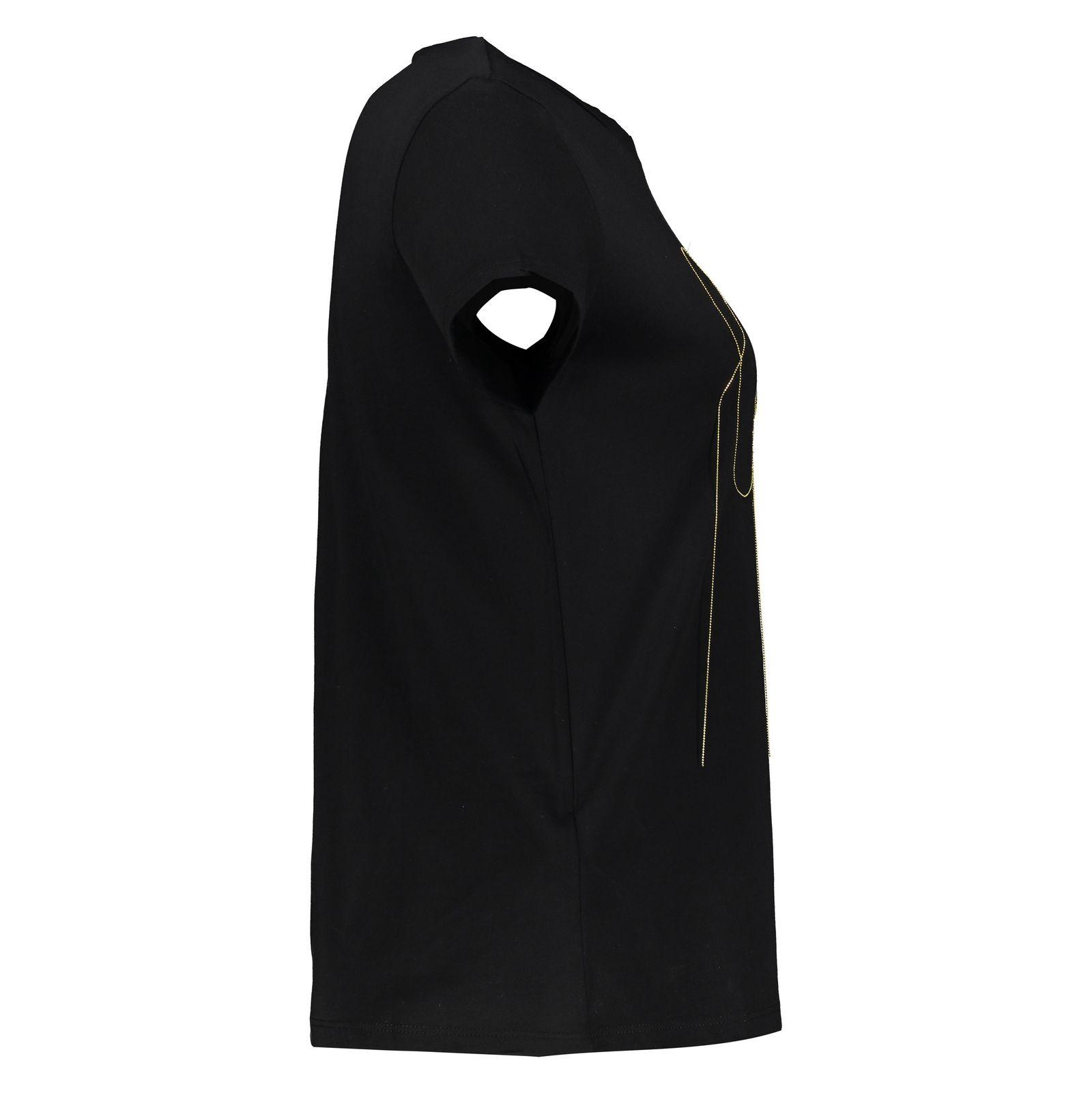 تی شرت نخی یقه گرد زنانه - مانگو - مشکی - 2