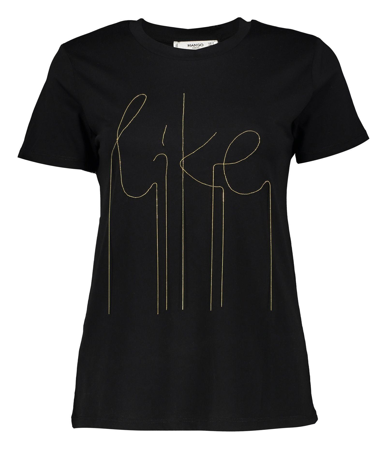 تی شرت نخی یقه گرد زنانه - مانگو - مشکی - 1