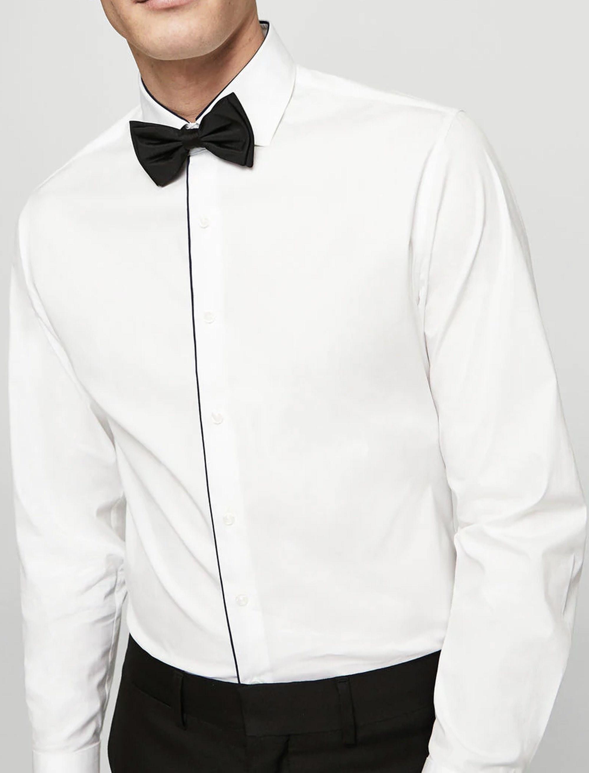 پیراهن نخی آستین بلند مردانه - مانگو - سفيد - 2