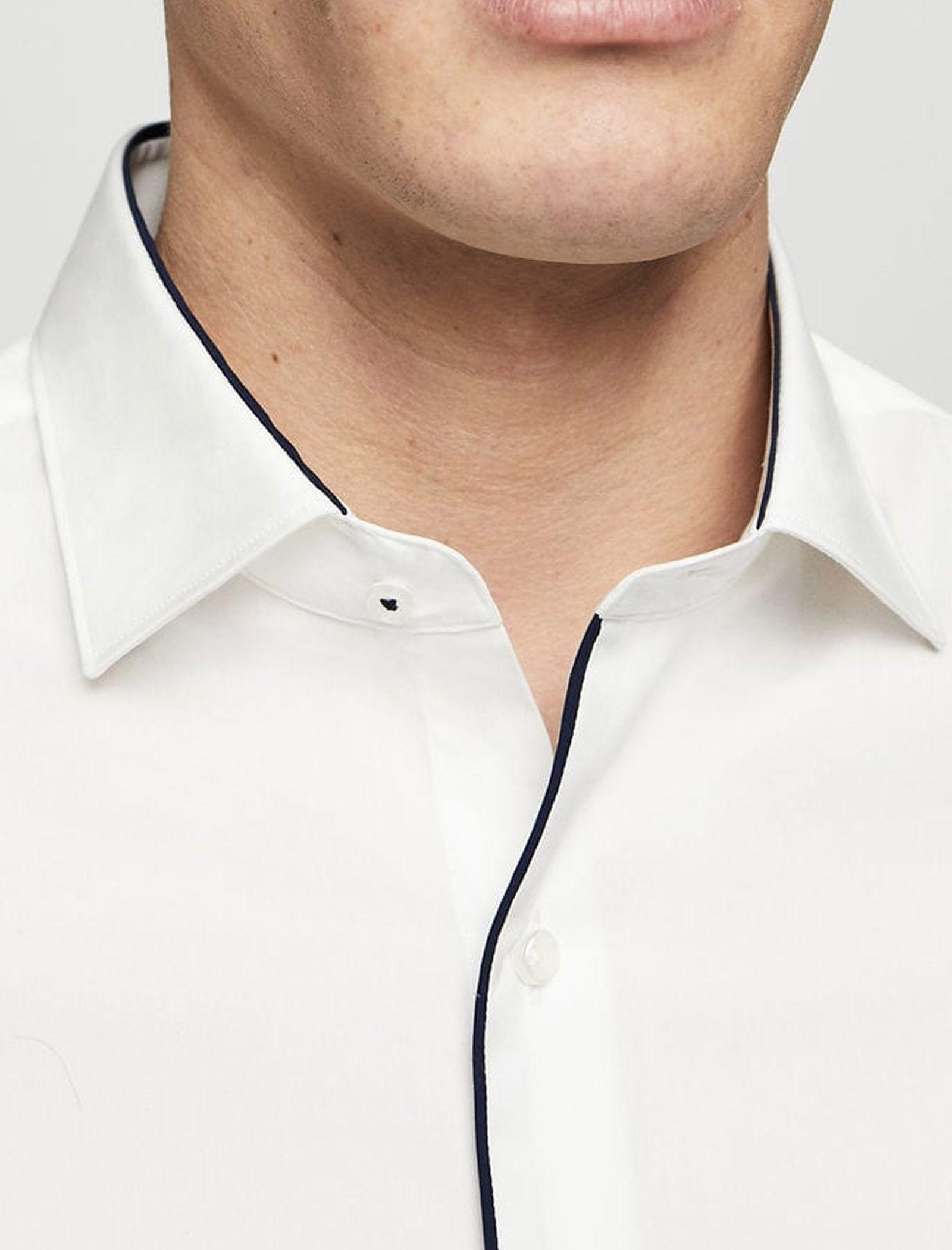 پیراهن نخی آستین بلند مردانه - مانگو - سفيد - 9