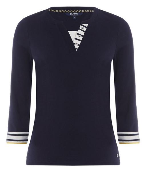 تی شرت نخی آستین سه ربع زنانه - مین نیو اینگلند