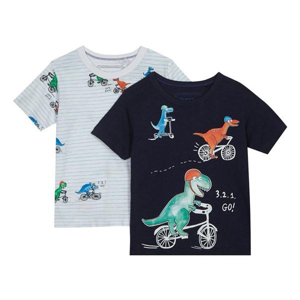 تی شرت نخی یقه گرد پسرانه بسته 2 عددی - بلوزو