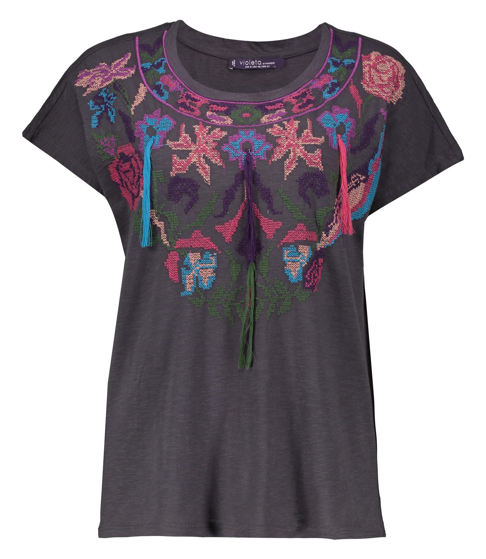 تی شرت نخی یقه گرد زنانه - ویولتا بای مانگو - طوسی - 1