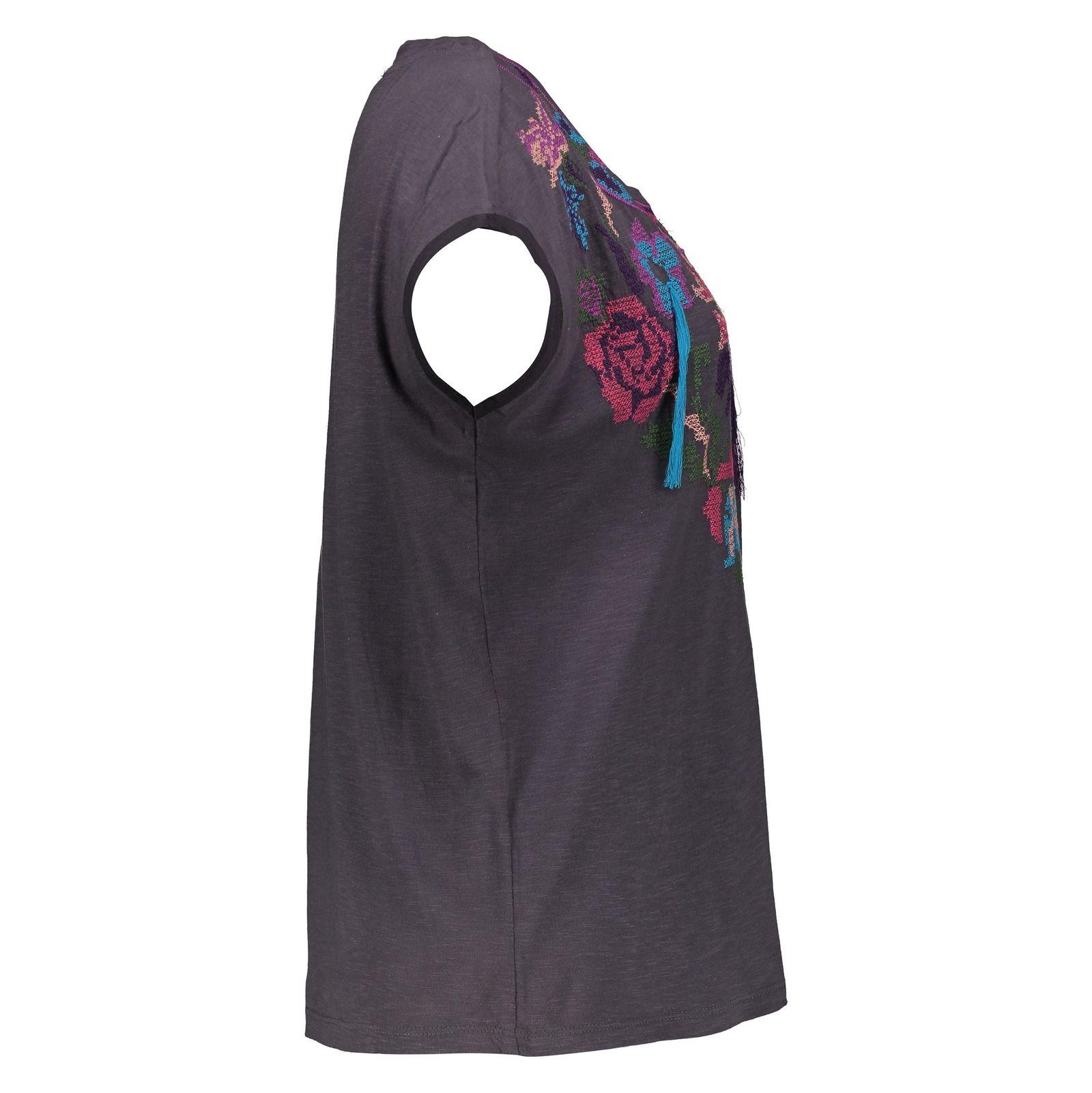 تی شرت نخی یقه گرد زنانه - ویولتا بای مانگو - طوسی - 2