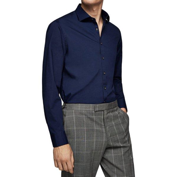 پیراهن نخی آستین بلند مردانه - مانگو