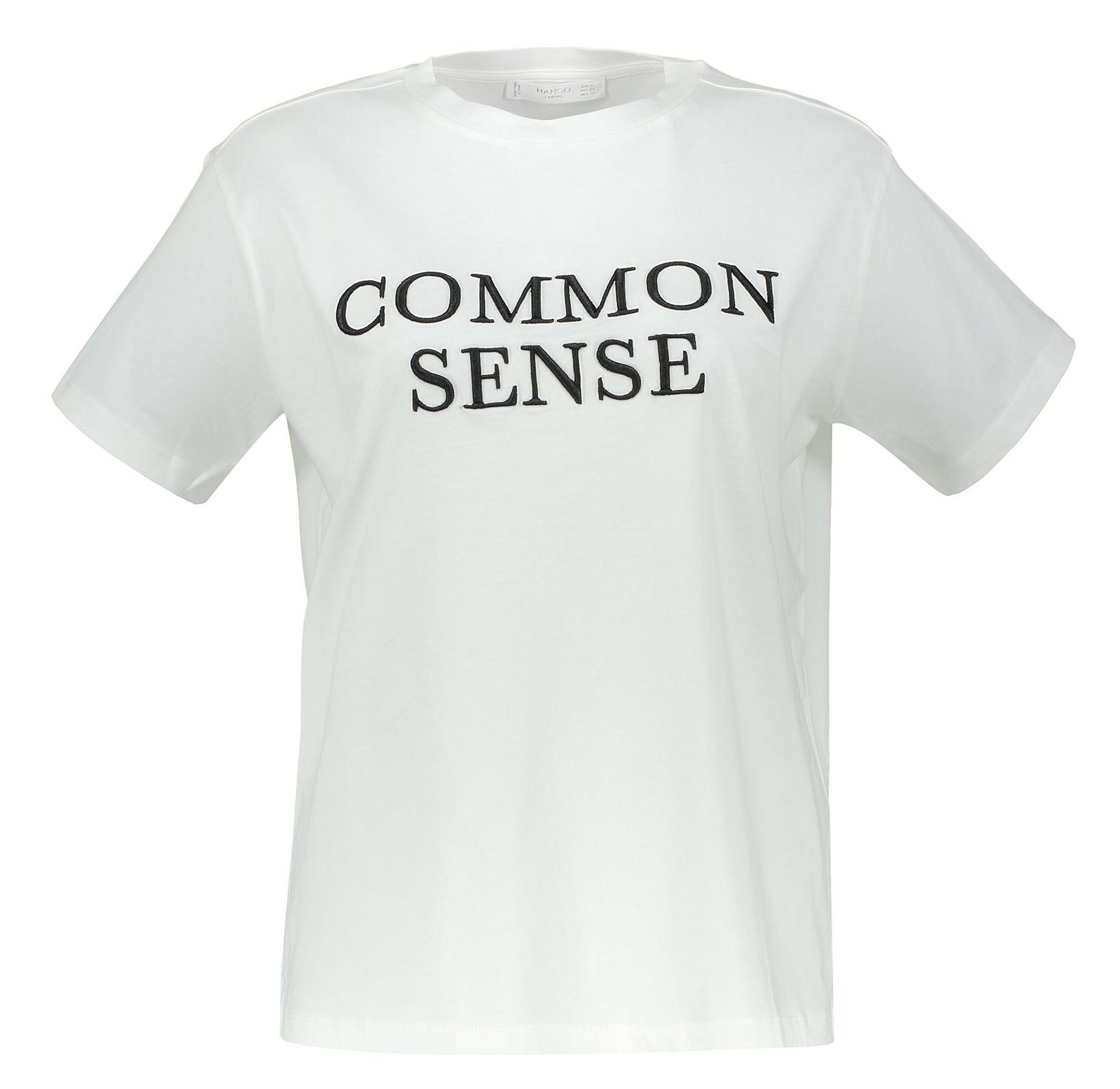 تی شرت نخی یقه گرد زنانه - مانگو - سفيد - 1