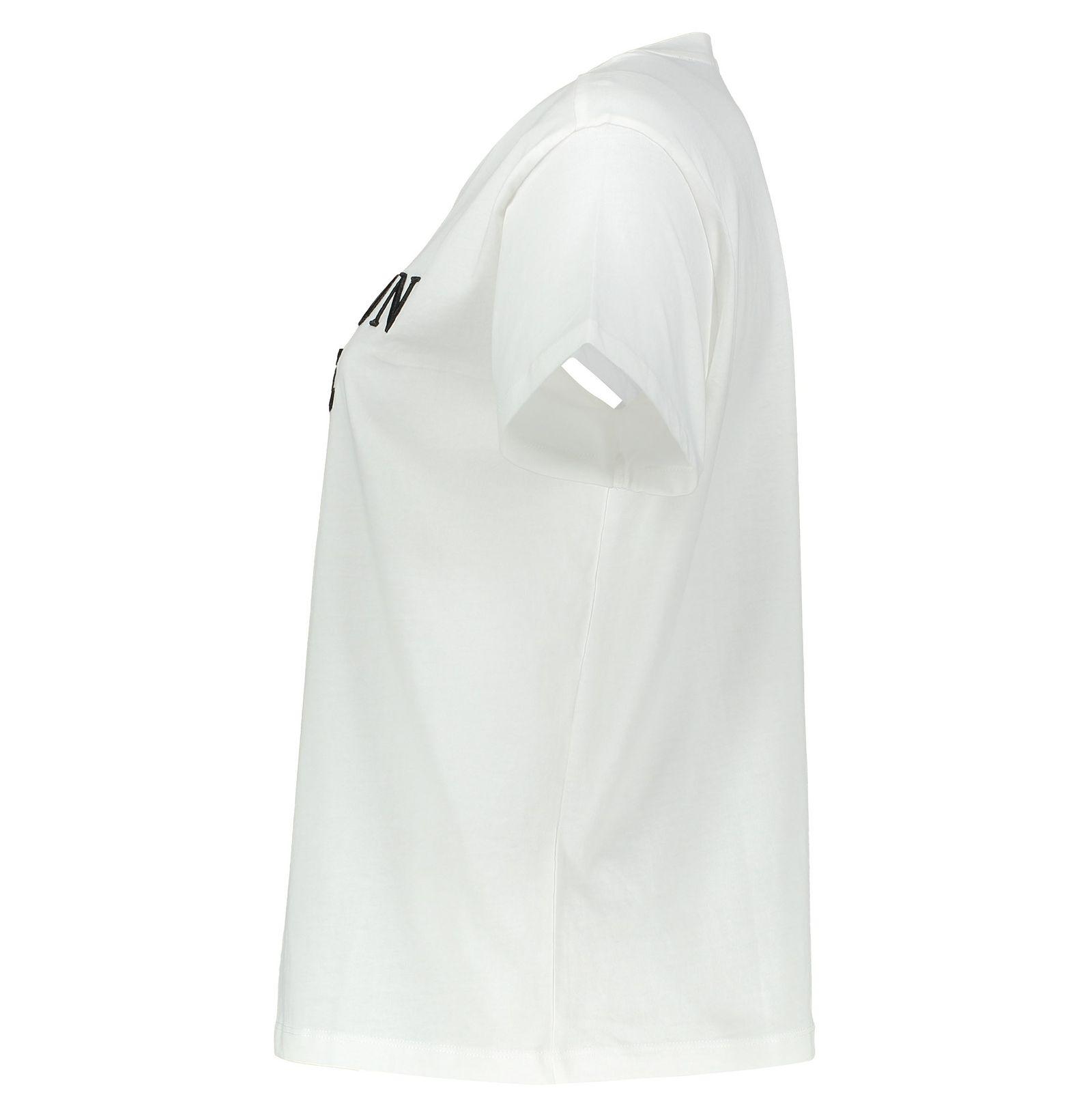 تی شرت نخی یقه گرد زنانه - مانگو - سفيد - 3