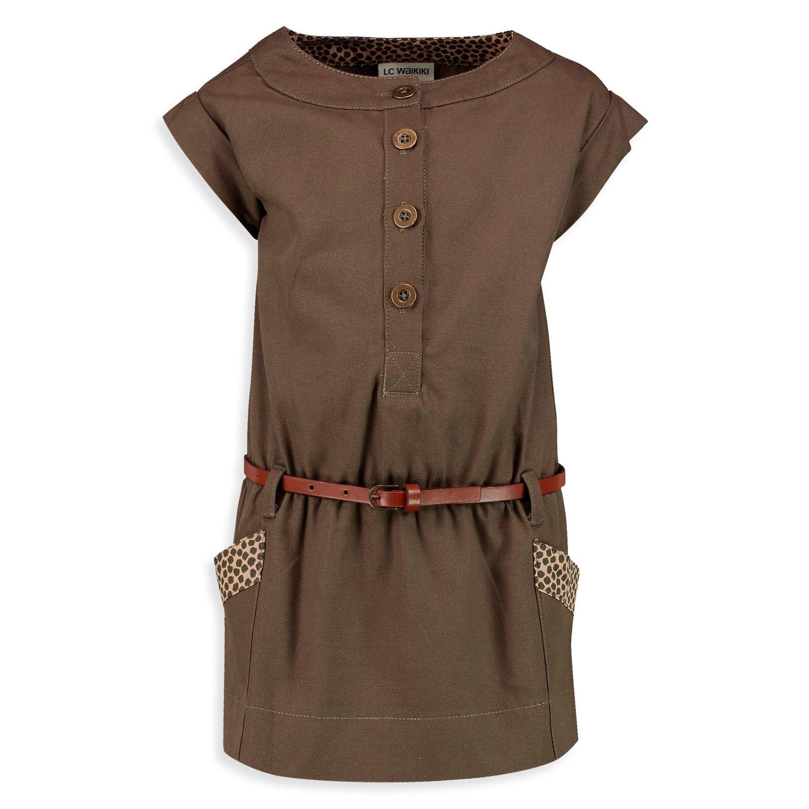 پیراهن نخی روزمره دخترانه - ال سی وایکیکی - قهوه اي - 1