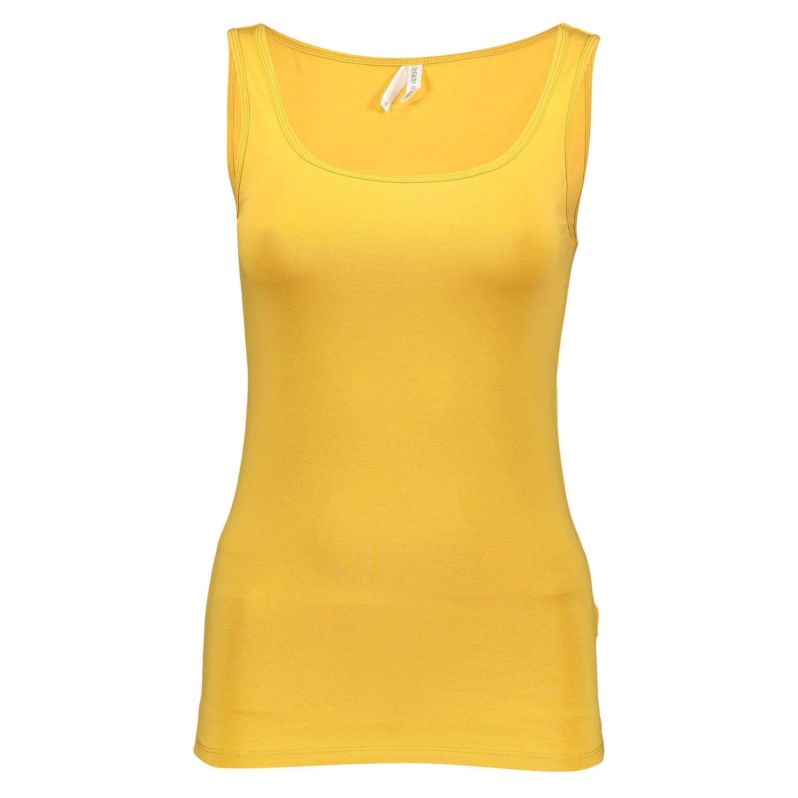 تاپ نخی یقه گرد زنانه - دفکتو - زرد - 1