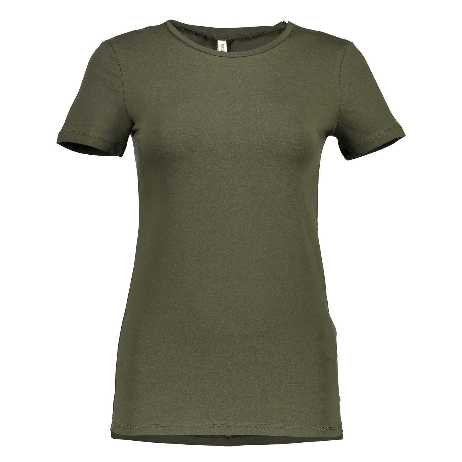 تی شرت نخی یقه گرد زنانه - دفکتو - زيتوني - 1