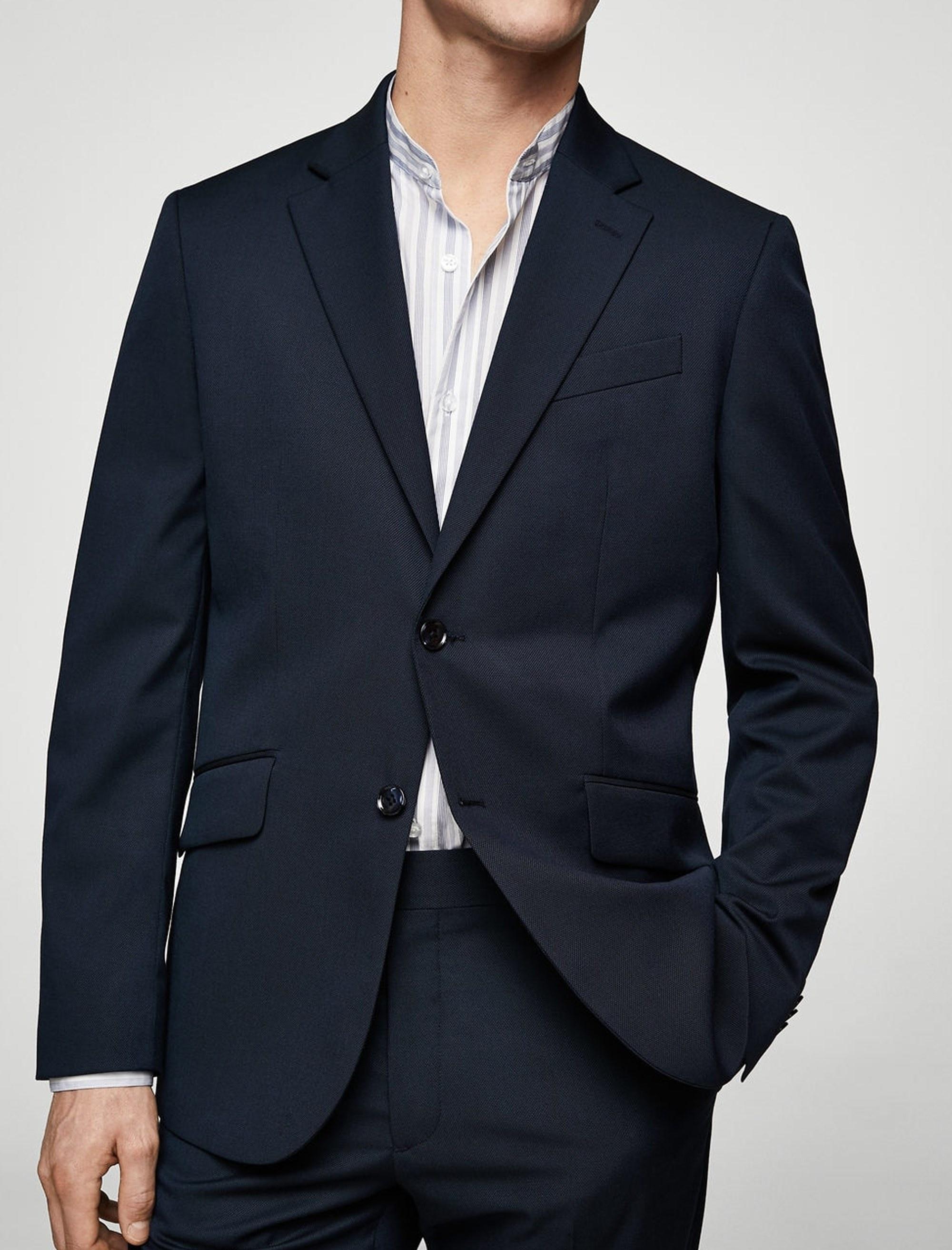 کت تک رسمی مردانه - مانگو - سرمه اي - 2