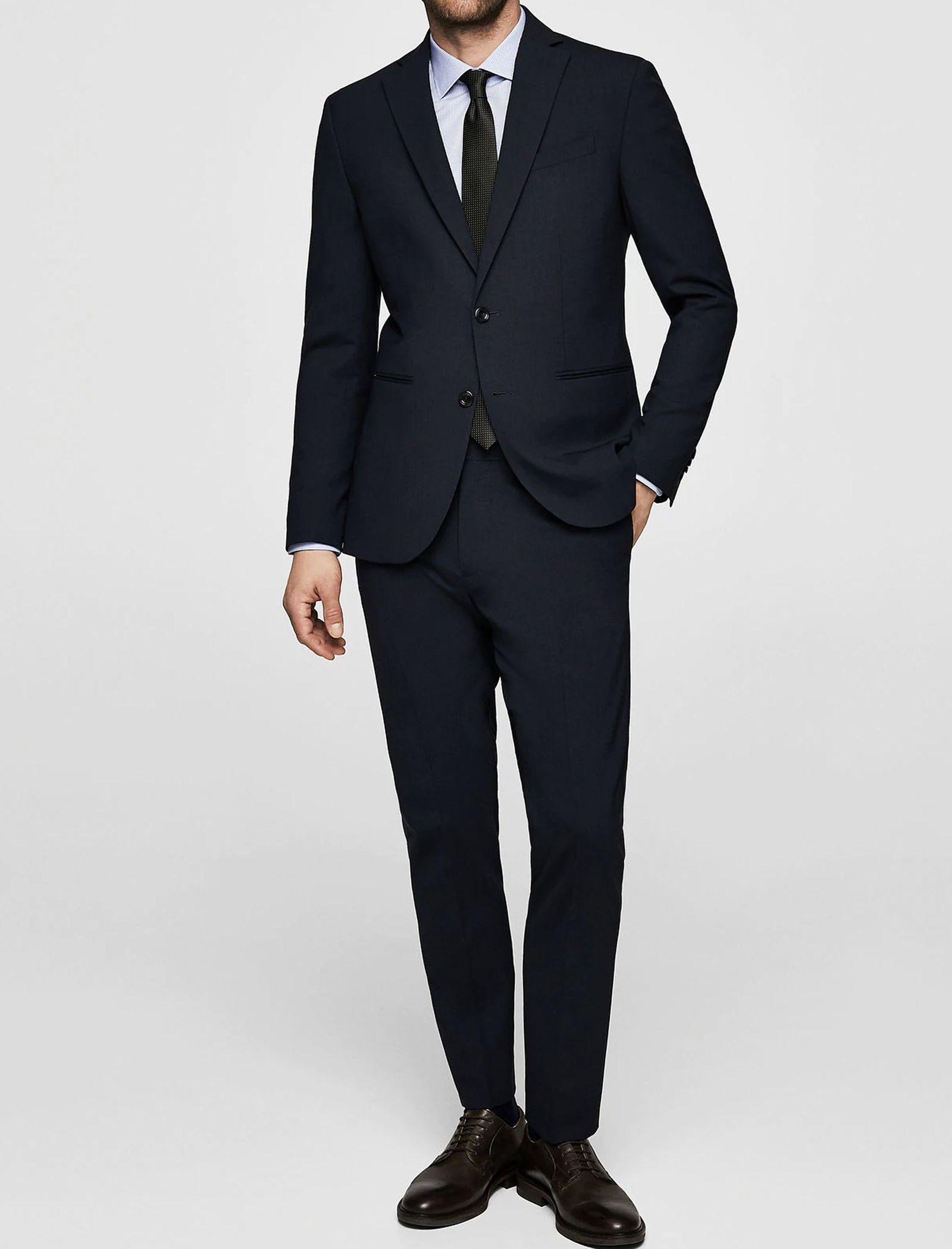 کت تک رسمی مردانه - مانگو - سرمه اي  - 8