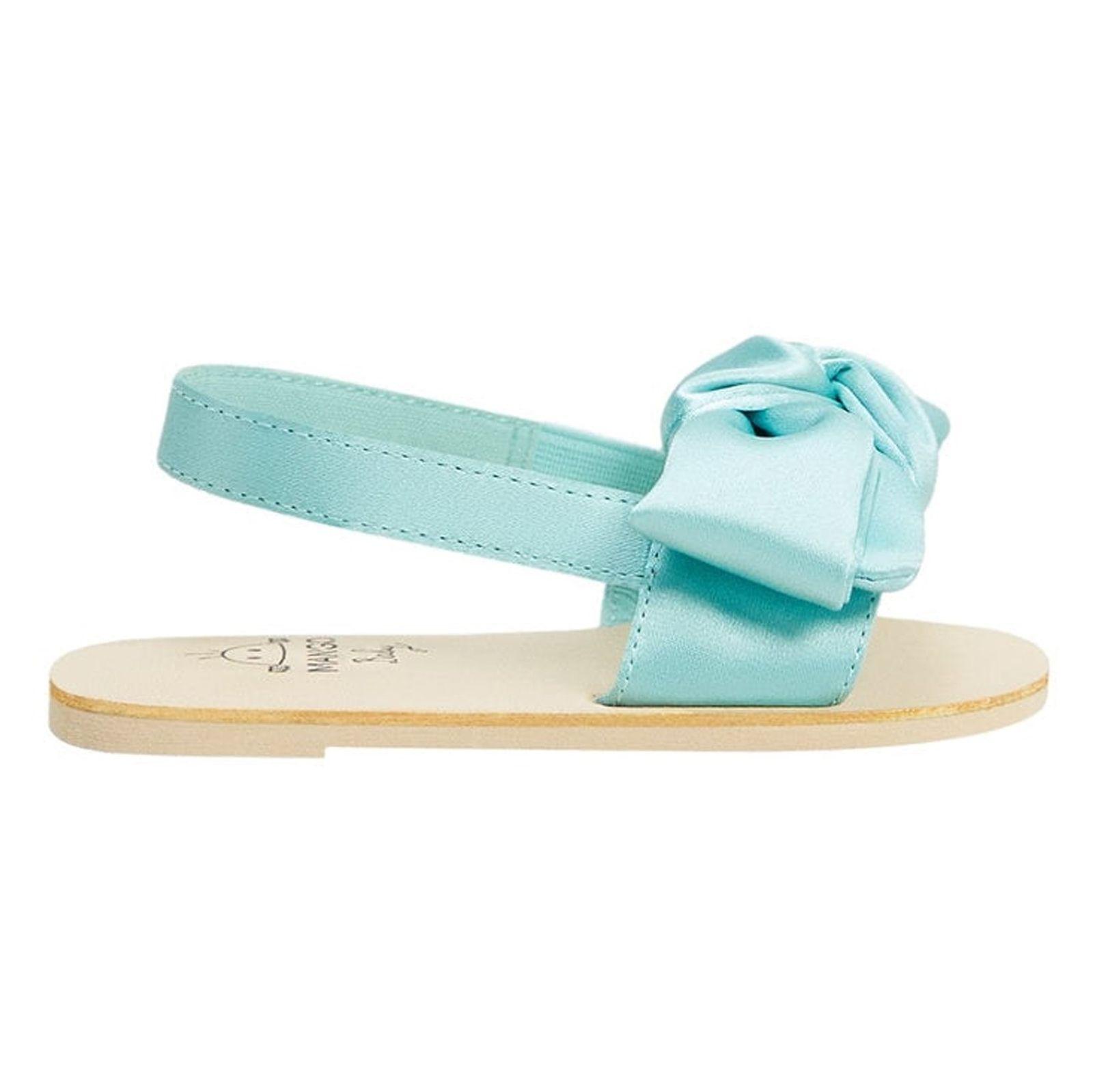 کفش بندی نوزادی دخترانه - مانگو - آبي روشن  - 1