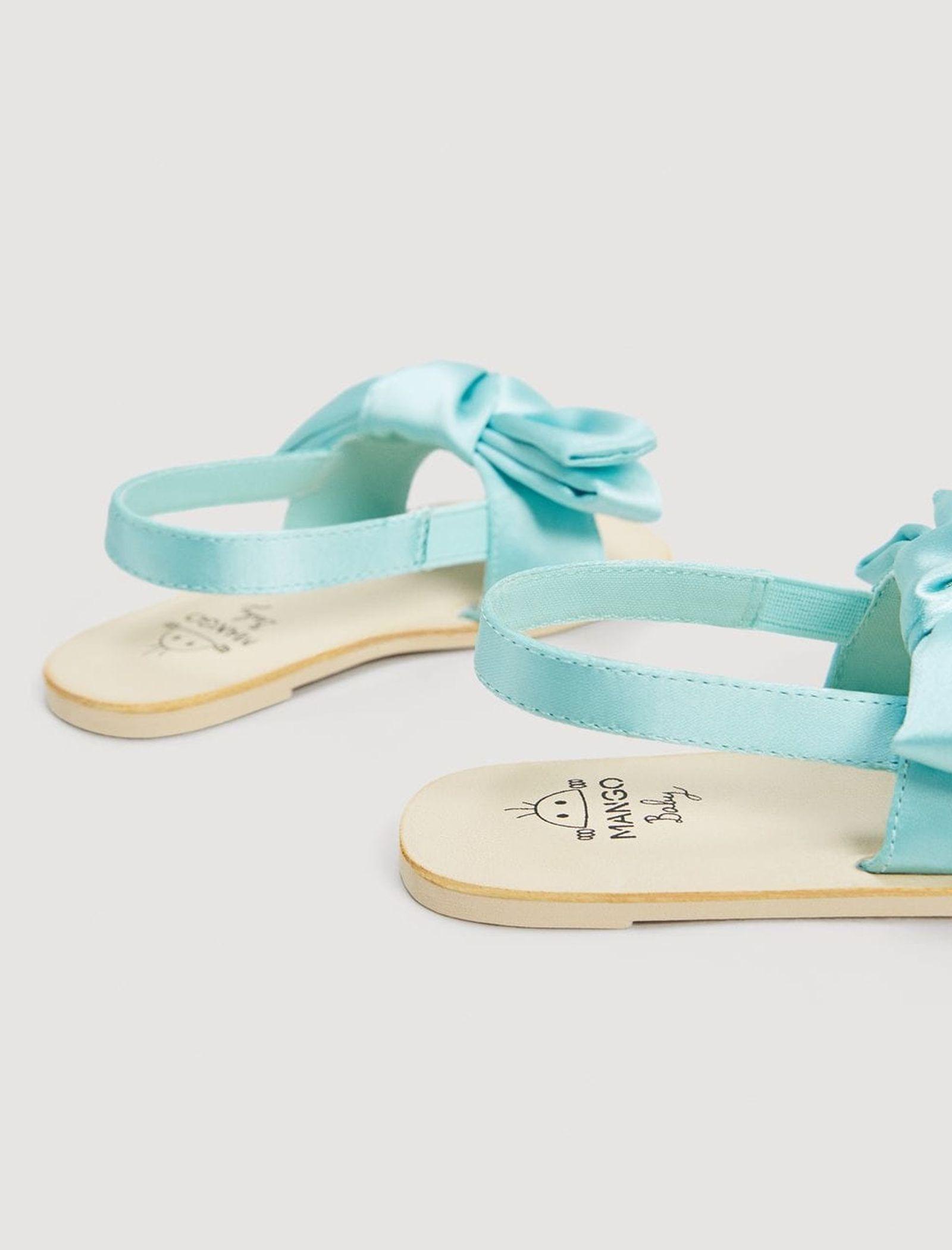 کفش بندی نوزادی دخترانه - مانگو - آبي روشن  - 4