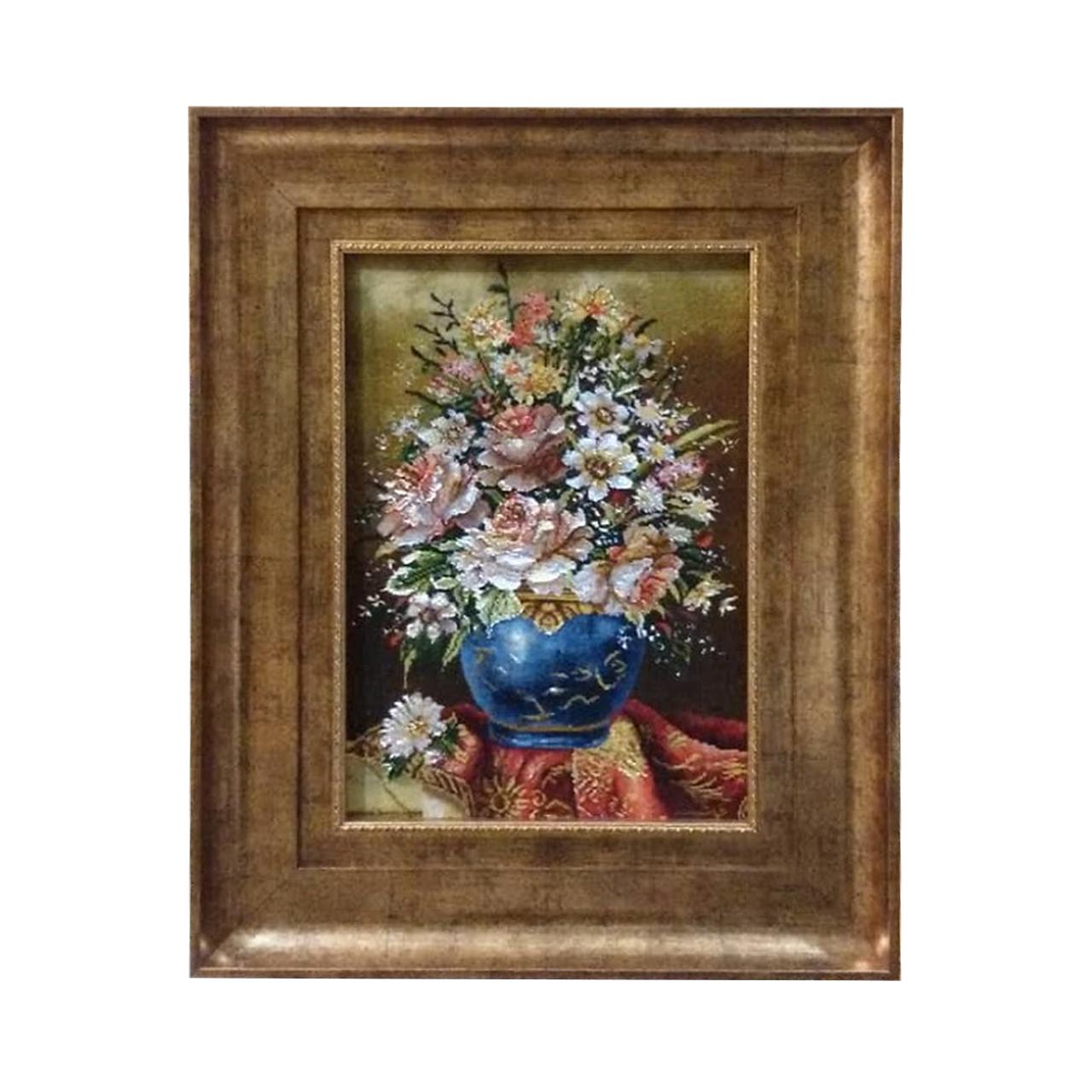 خرید                       تابلو فرش دستبافت طرح گلدان گل کد YM.139