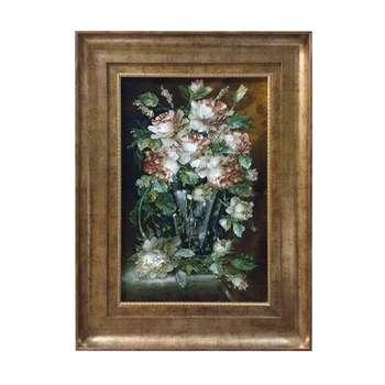 تابلو فرش دستبافت طرح گلدان گل کد YM.143