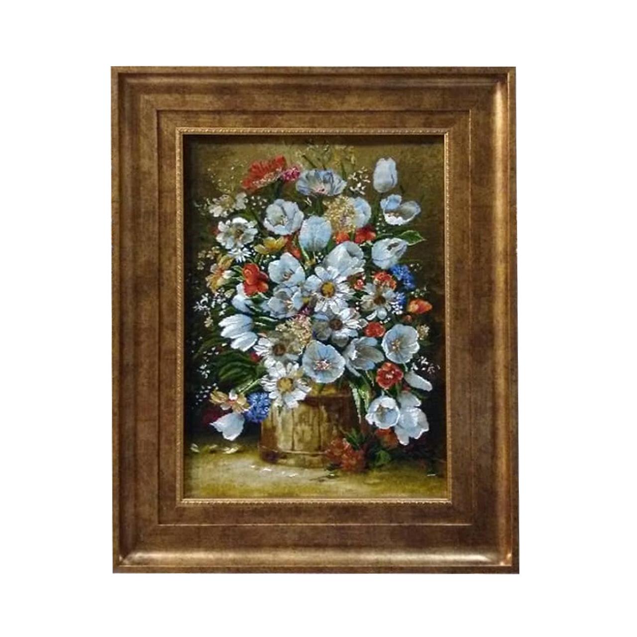 خرید                       تابلو فرش دستبافت طرح گلدان گل کد YM.149