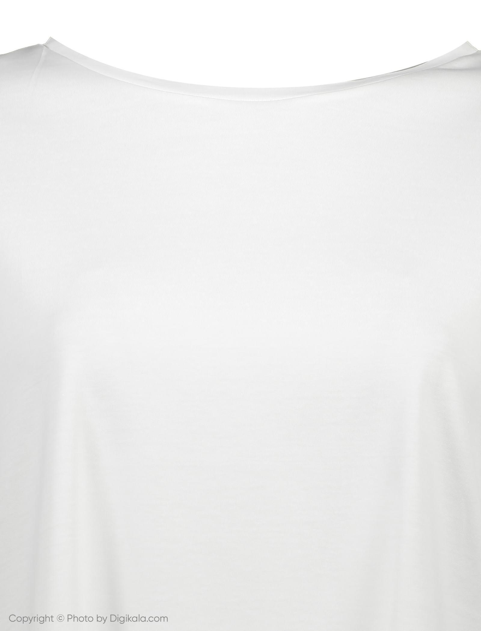 تی شرت ویسکوز یقه گرد زنانه - ویولتا بای مانگو - سفید - 4