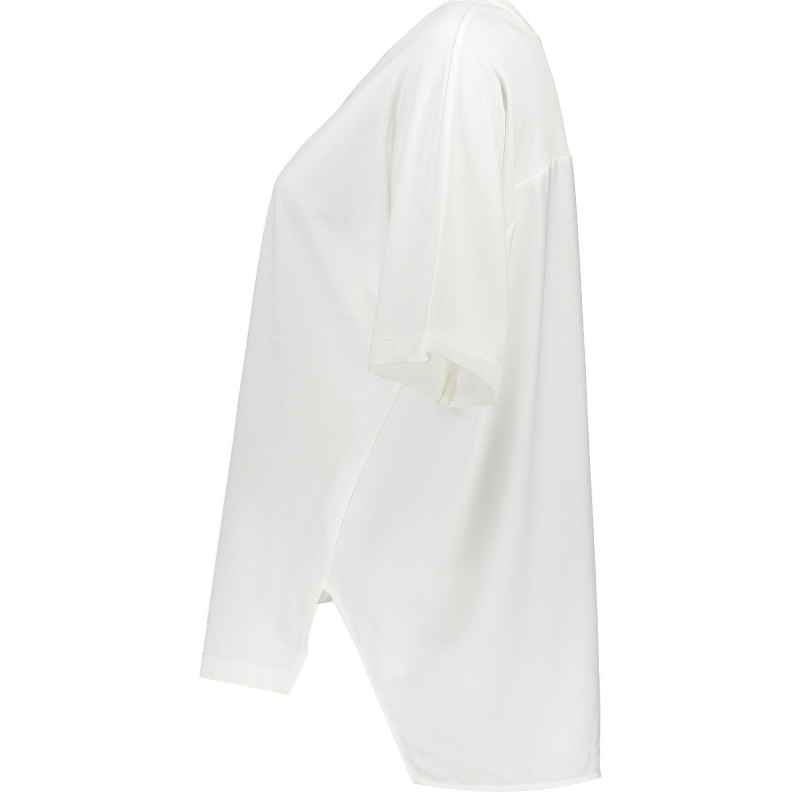 تی شرت ویسکوز یقه گرد زنانه - ویولتا بای مانگو - سفید - 2