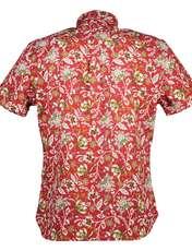 پیراهن نخی آستین کوتاه مردانه - مانگو - قرمز - 2