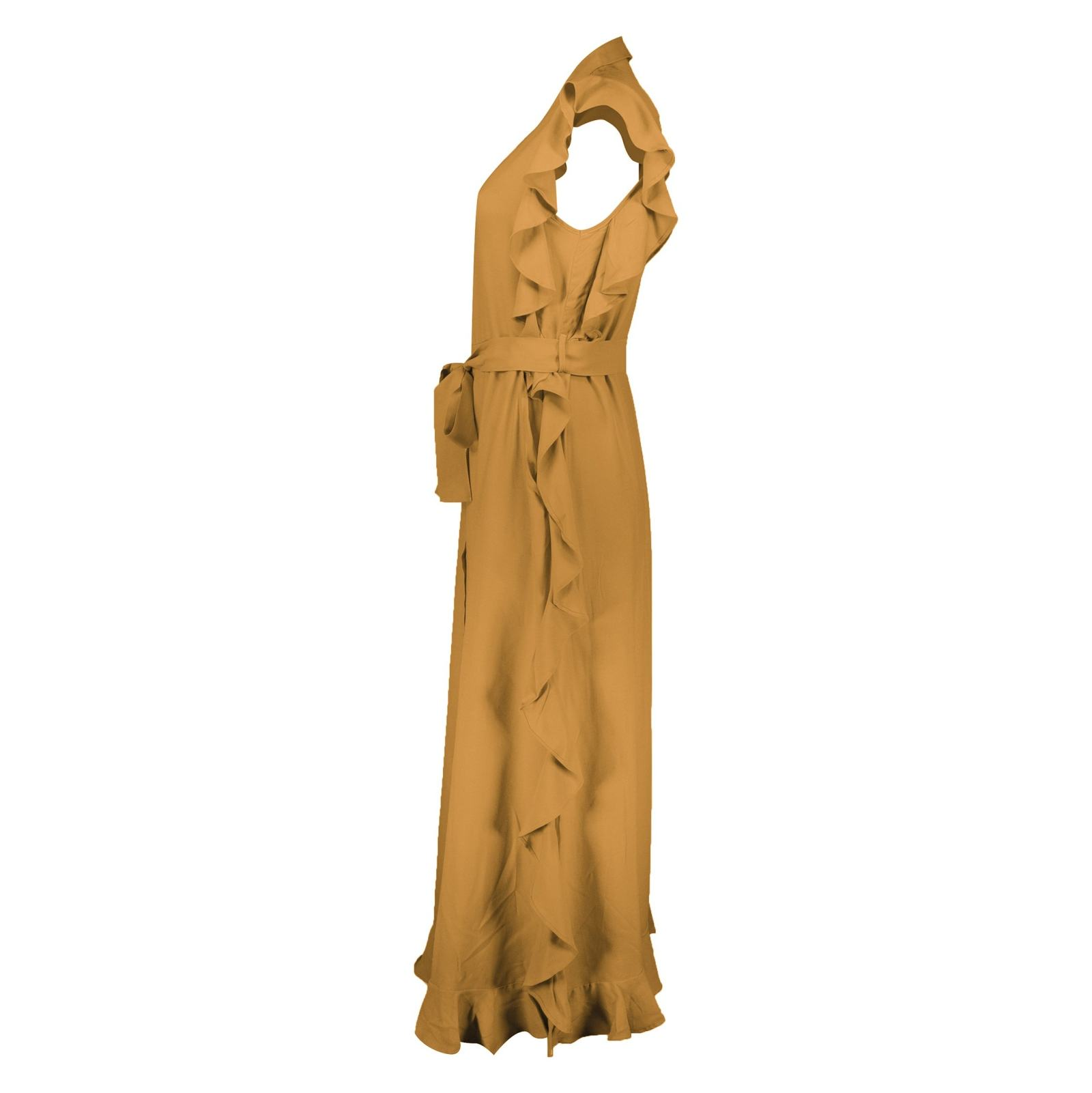 پیراهن ویسکوز بلند زنانه - کوتون - نارنجي - 3