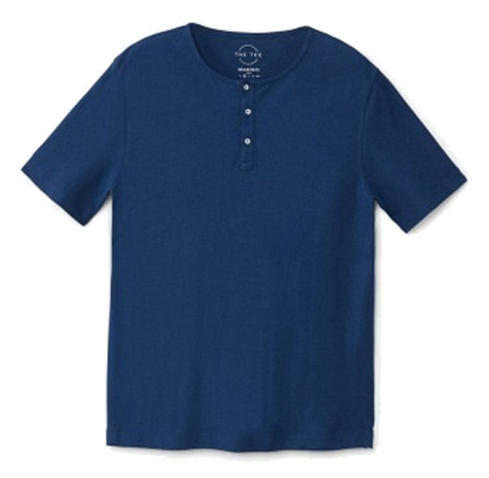 تی شرت نخی یقه گرد مردانه - مانگو - سرمه ای - 1