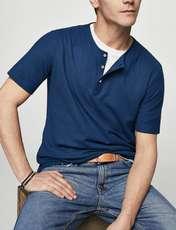 تی شرت نخی یقه گرد مردانه - مانگو - سرمه ای - 2