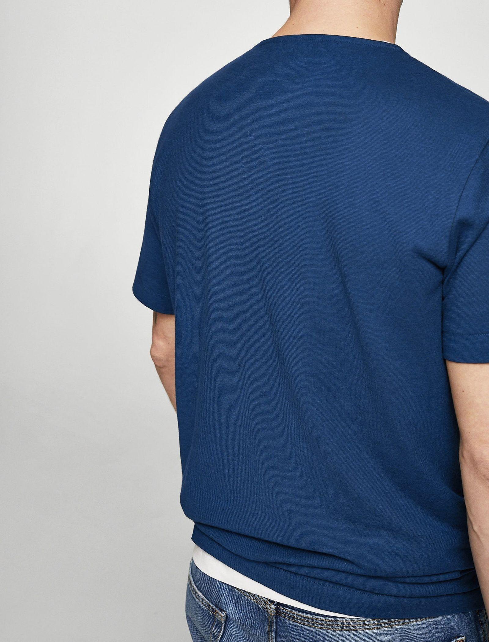 تی شرت نخی یقه گرد مردانه - مانگو - سرمه ای - 3