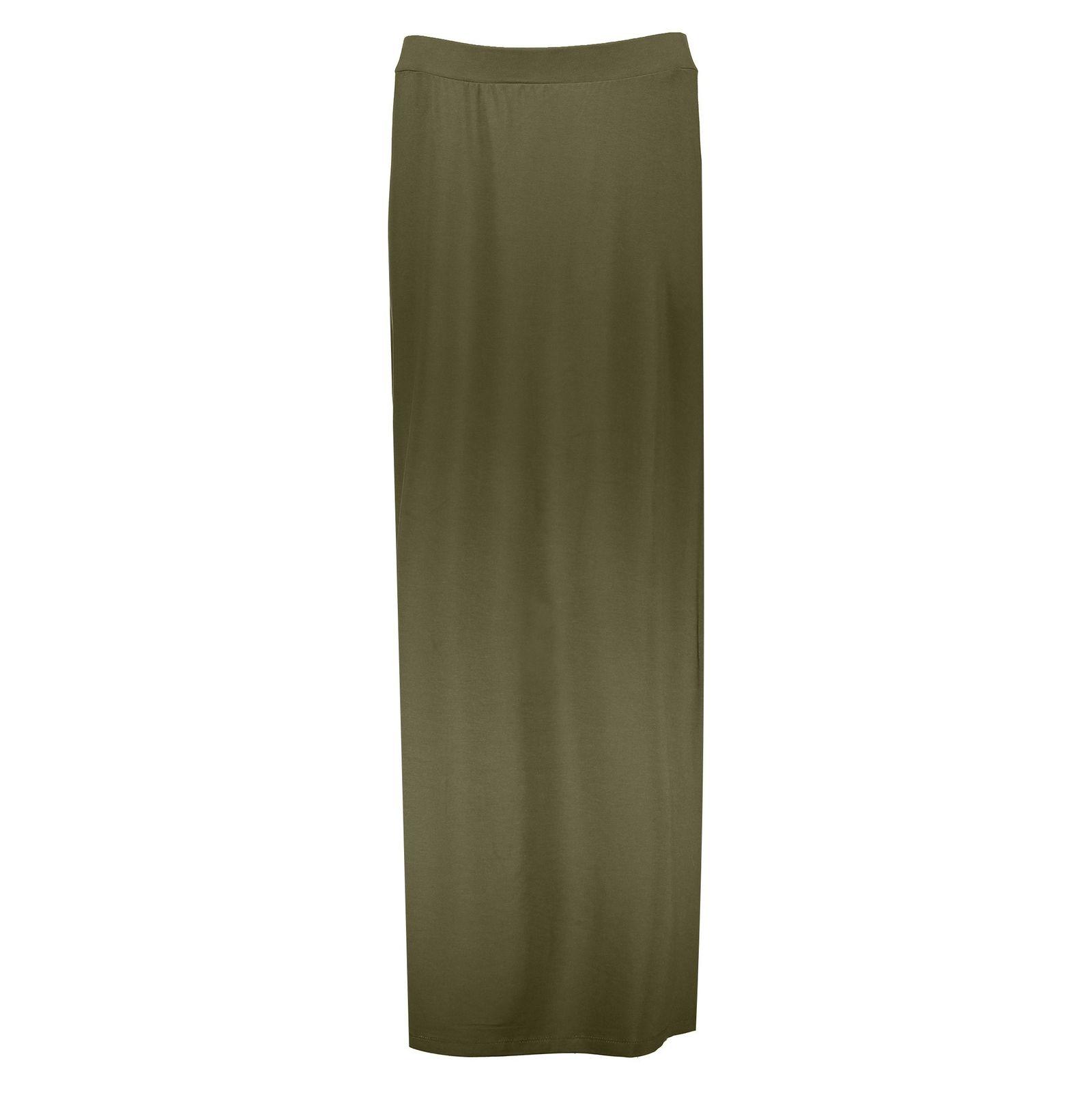 دامن ویسکوز بلند  زنانه - جنیفر - زيتوني - 1
