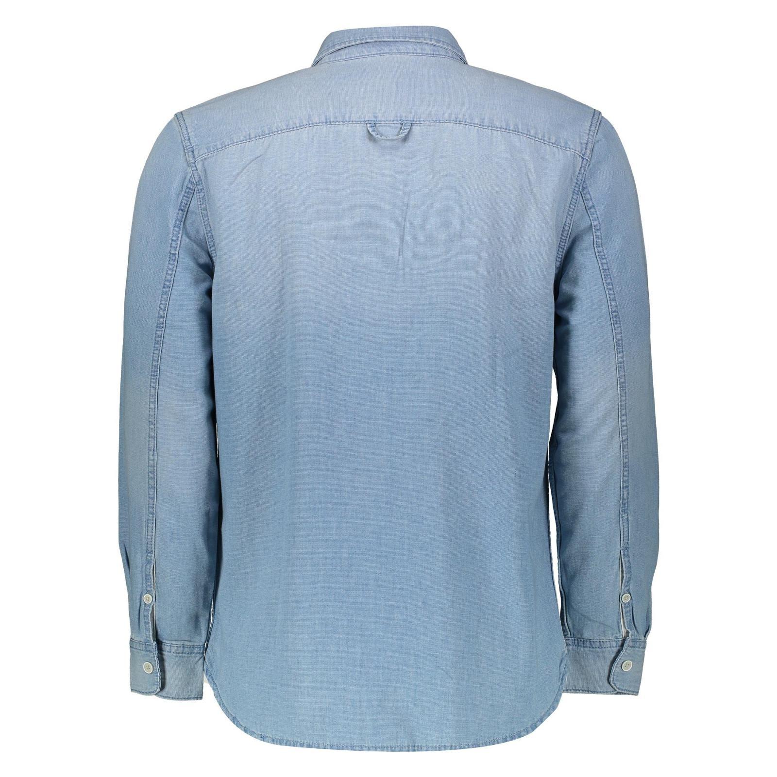 پیراهن جین آستین بلند مردانه - مانگو - آبي - 2