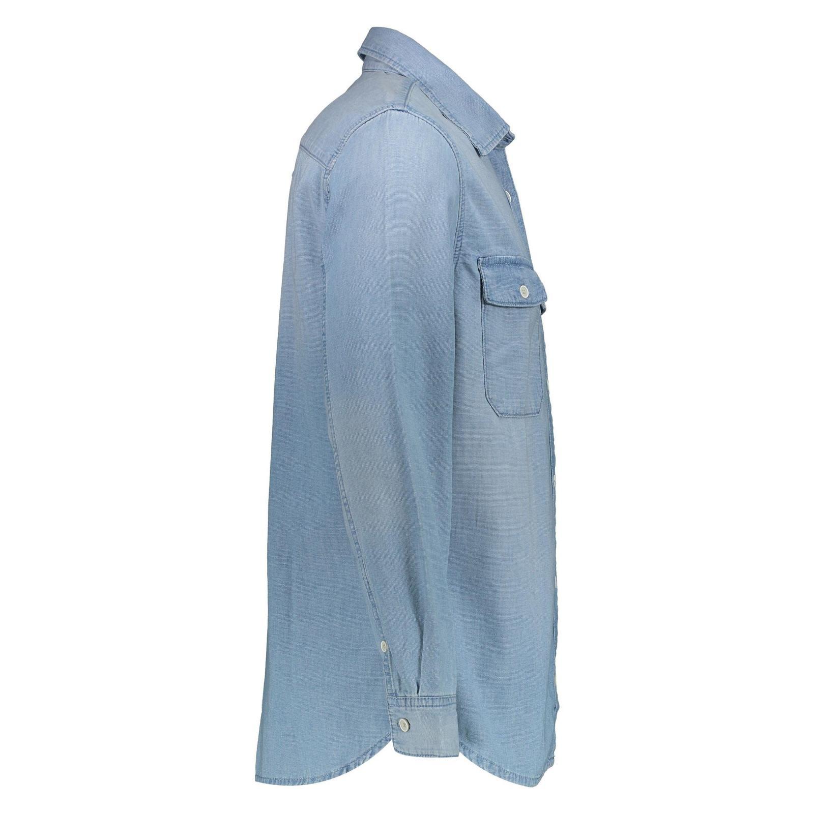 پیراهن جین آستین بلند مردانه - مانگو - آبي - 3