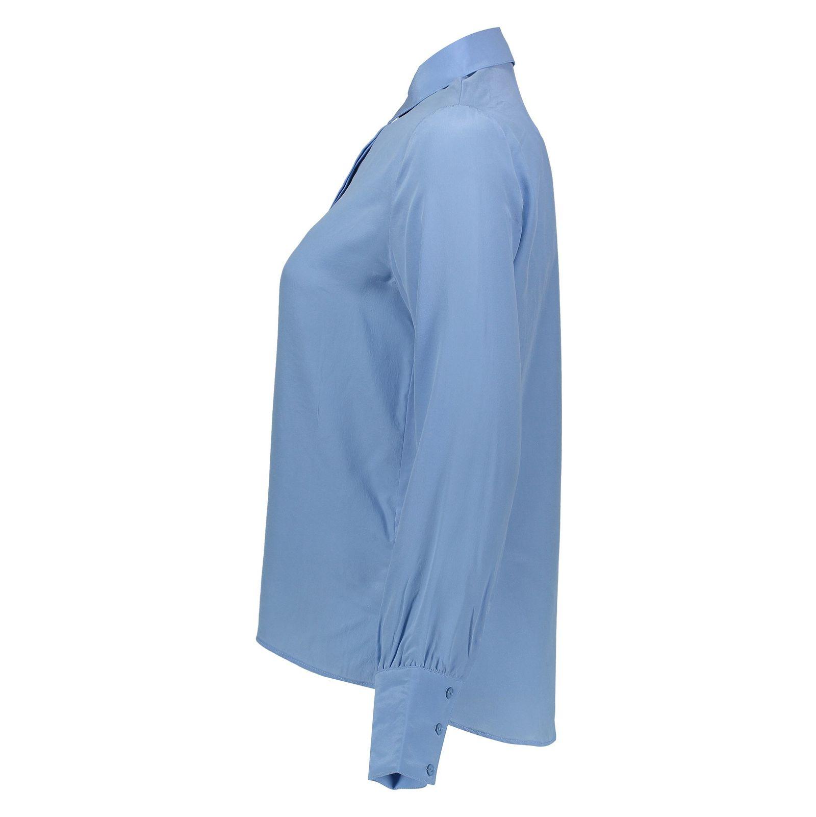 شومیز ابریشم آستین بلند زنانه - مینیموم - آبي - 3