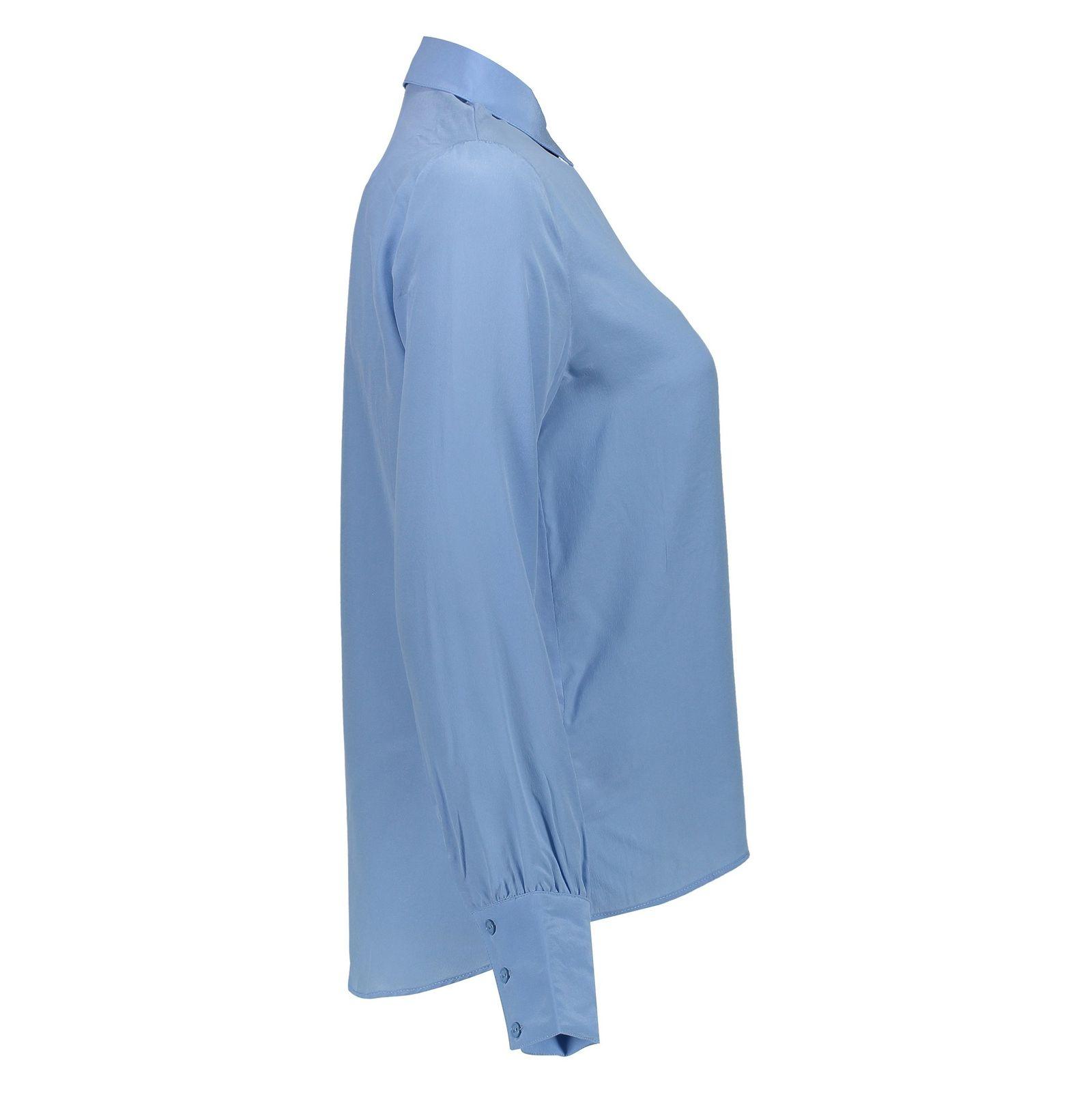 شومیز ابریشم آستین بلند زنانه - مینیموم - آبي - 4