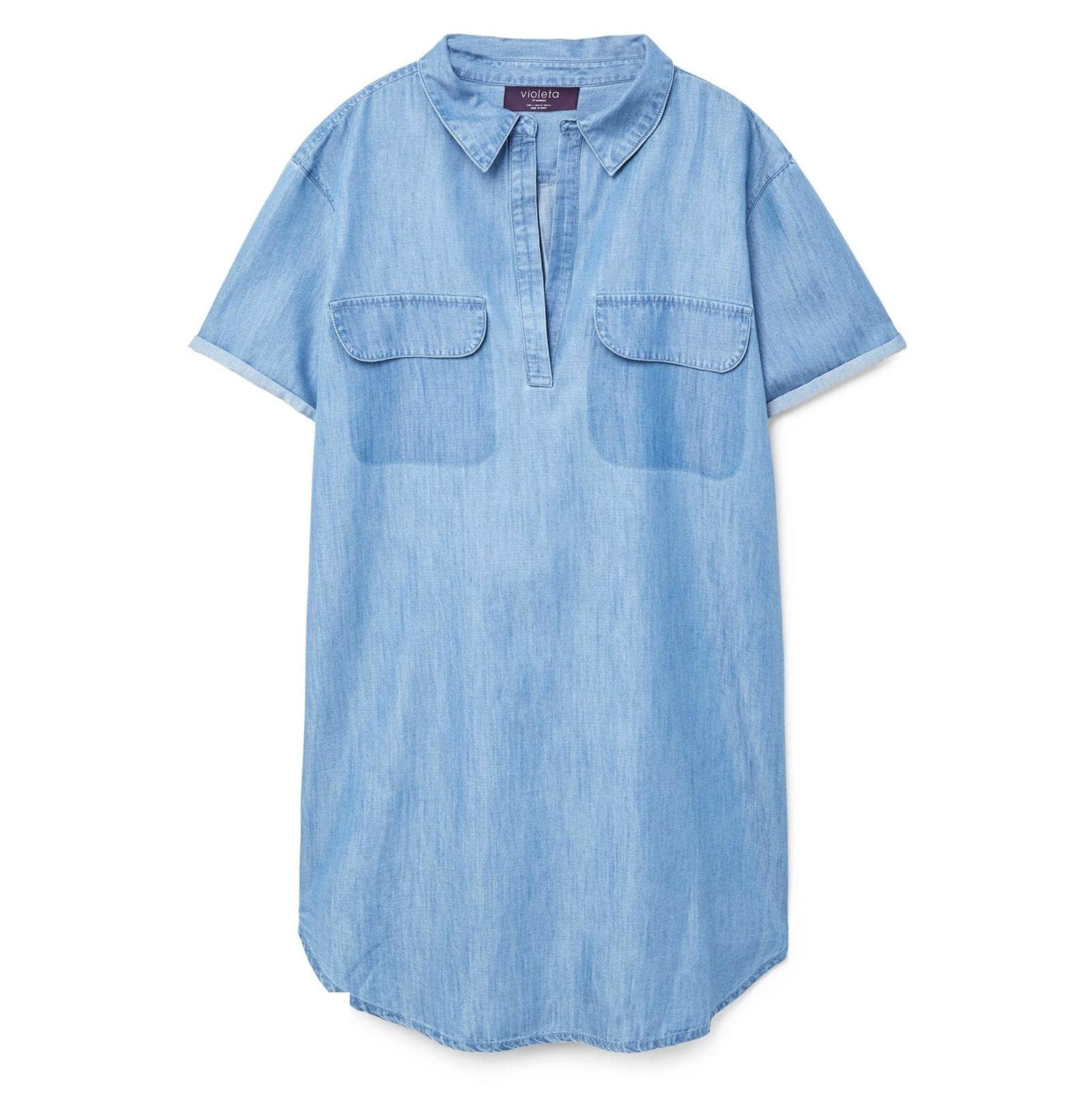پیراهن جین کوتاه زنانه - ویولتا بای مانگو - آبي  - 1